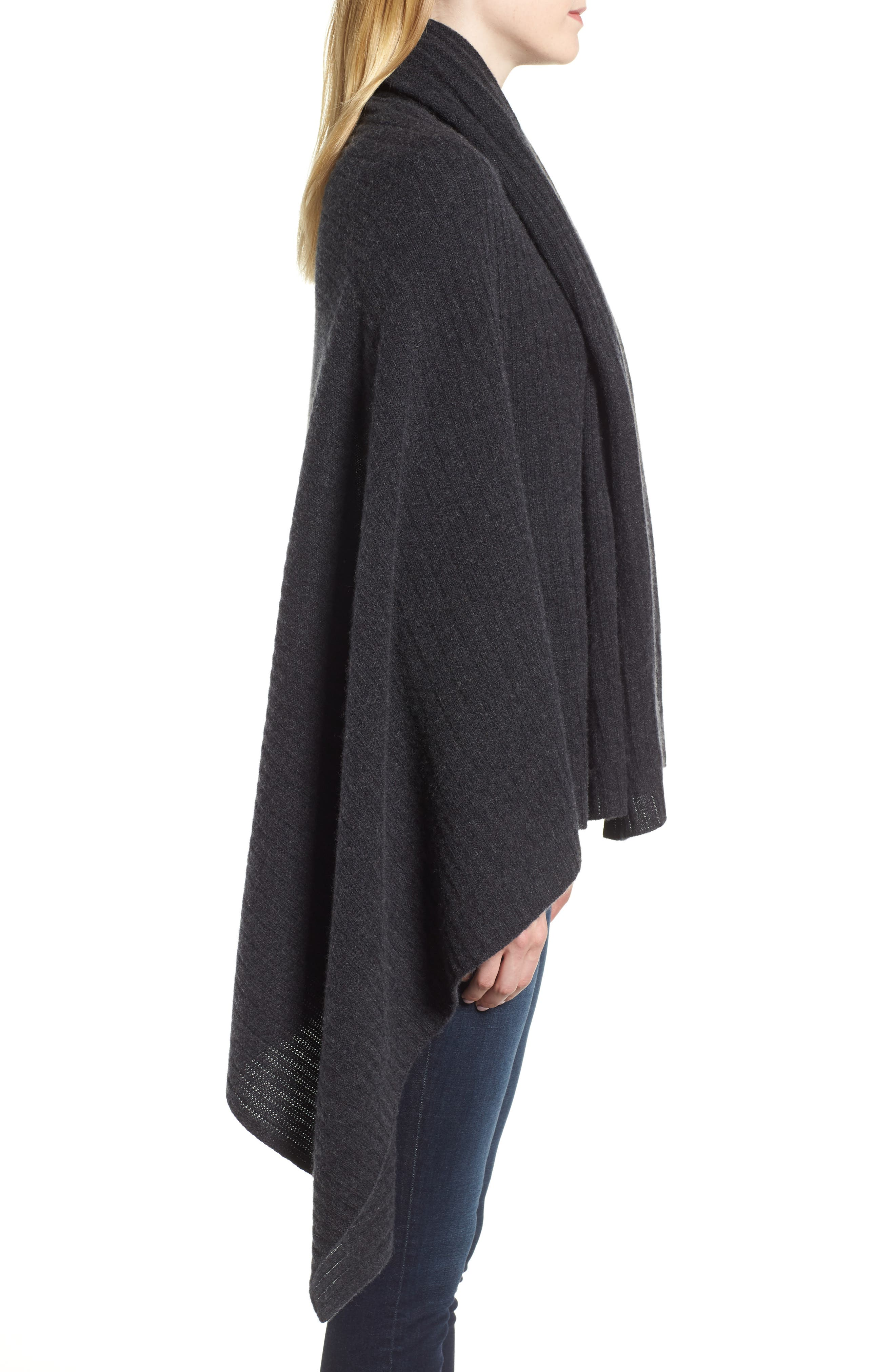 Ribbed Cashmere Wrap,                             Alternate thumbnail 3, color,                             001