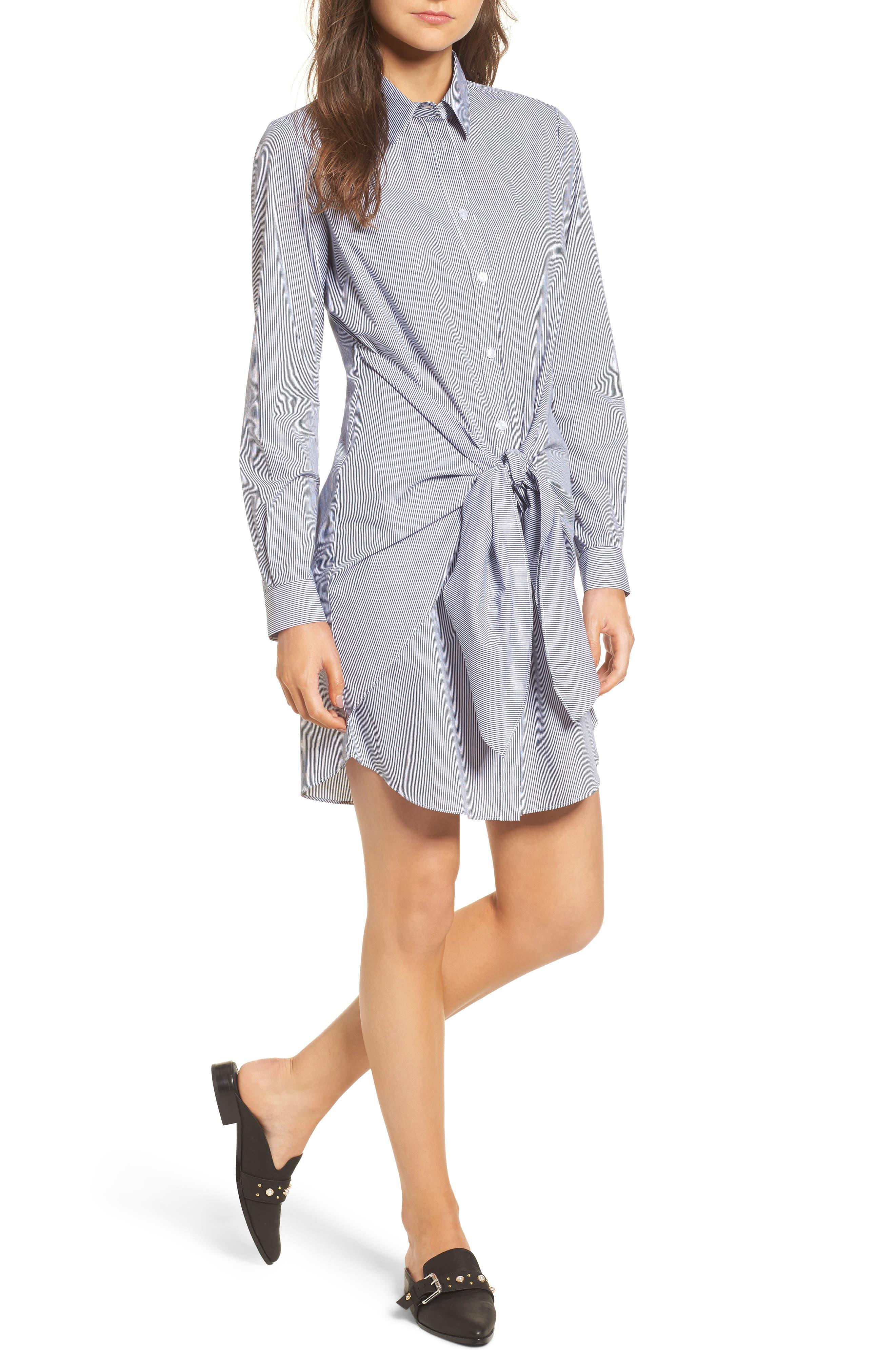 Tie Waist Shirtdress,                         Main,                         color, 001