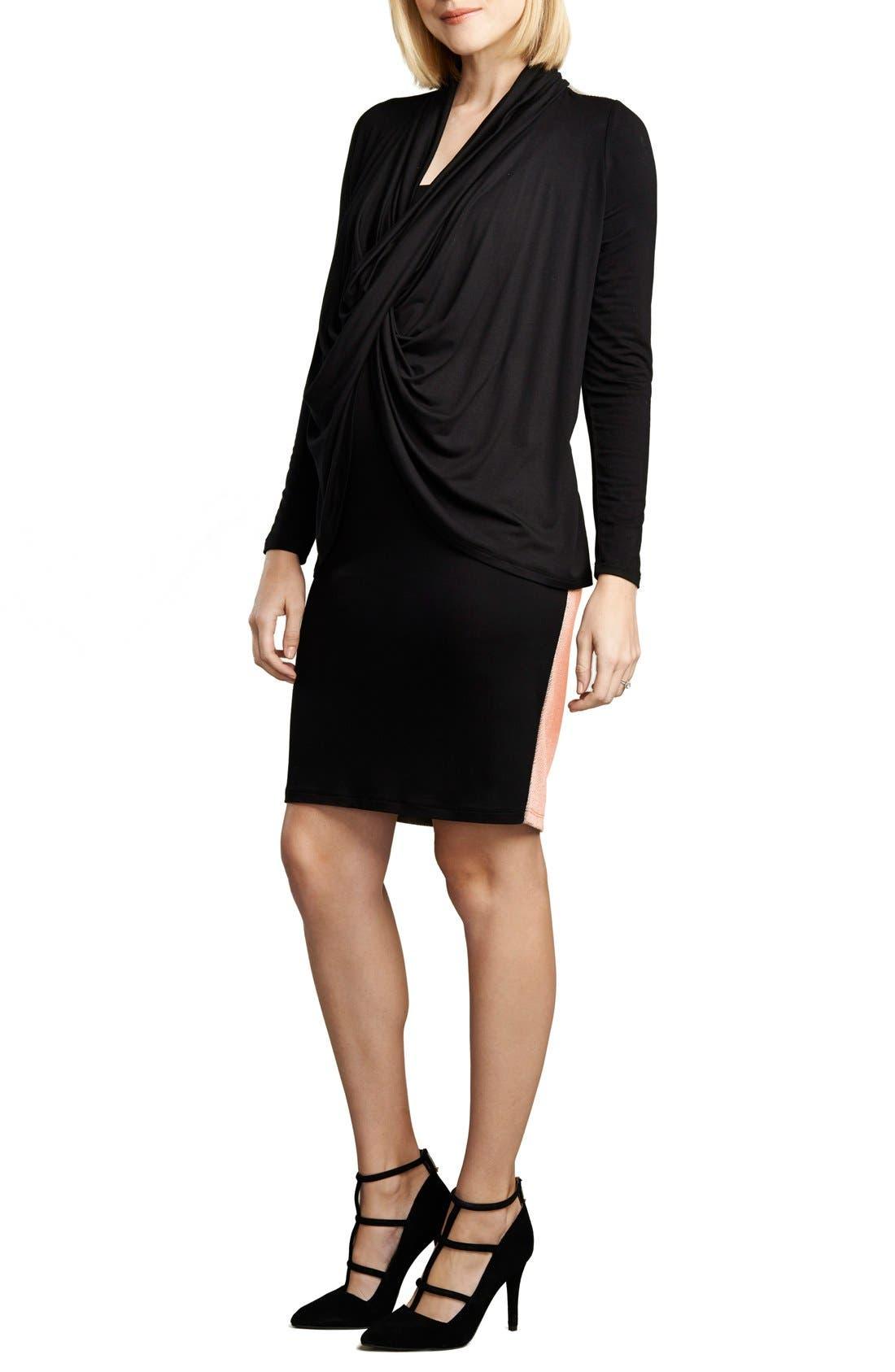 Front Drape Nursing Dress,                         Main,                         color, BLACK/BLUSH