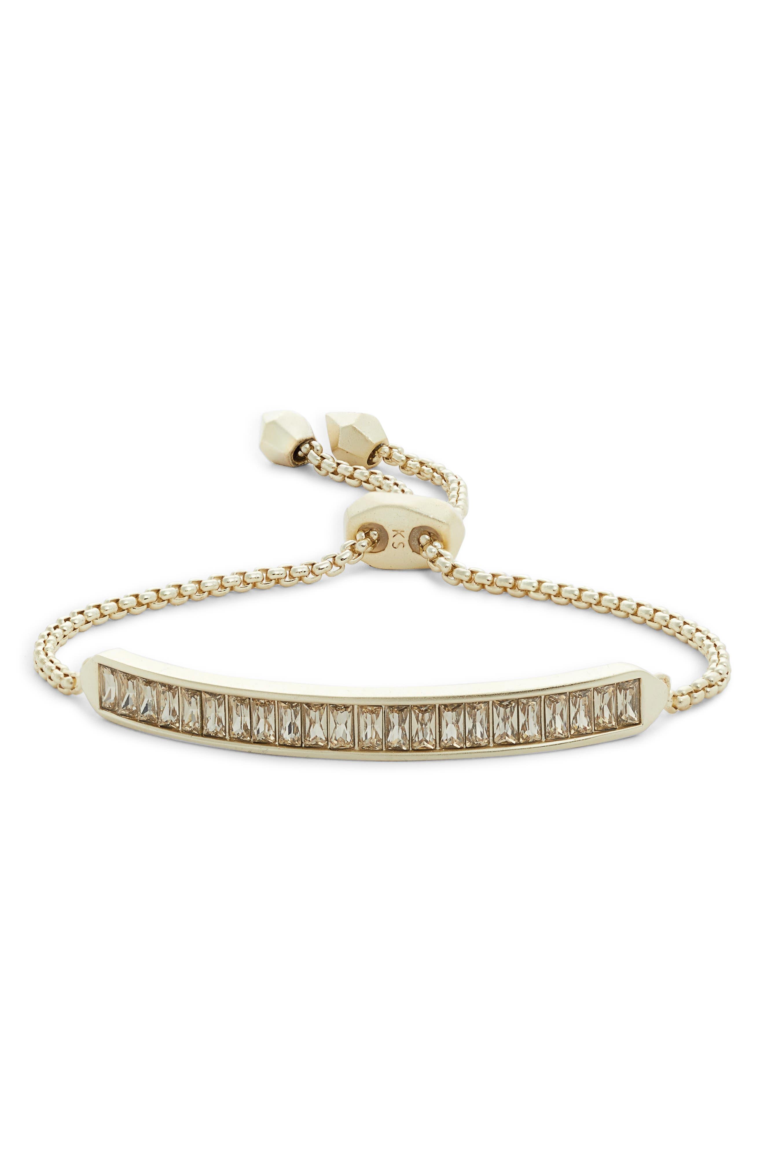 KENDRA SCOTT Jack Baguette Bar Slider Bracelet in Smoky Crystal/ Gold