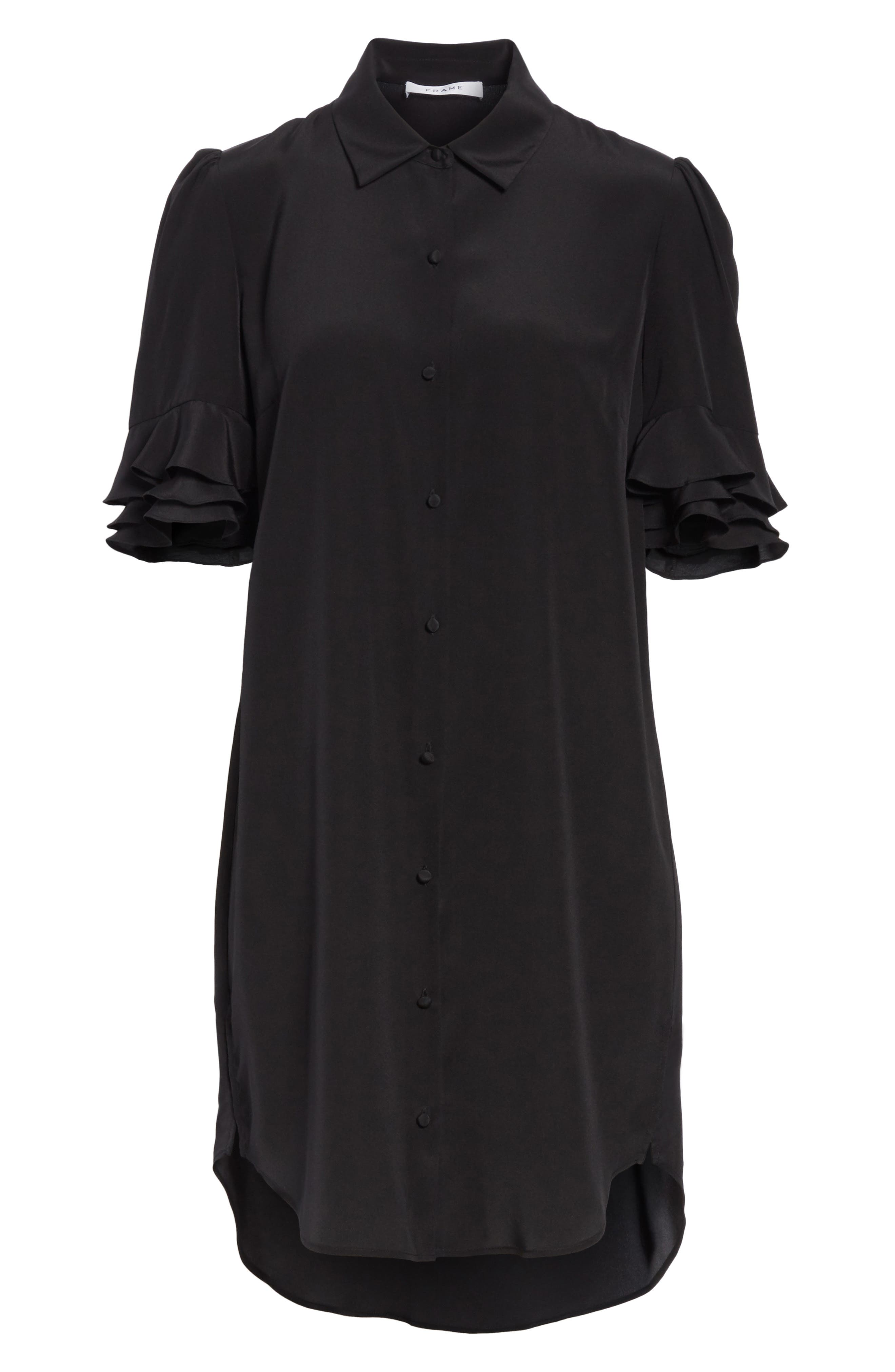 Ruffle Sleeve Silk Dress,                             Alternate thumbnail 6, color,                             001