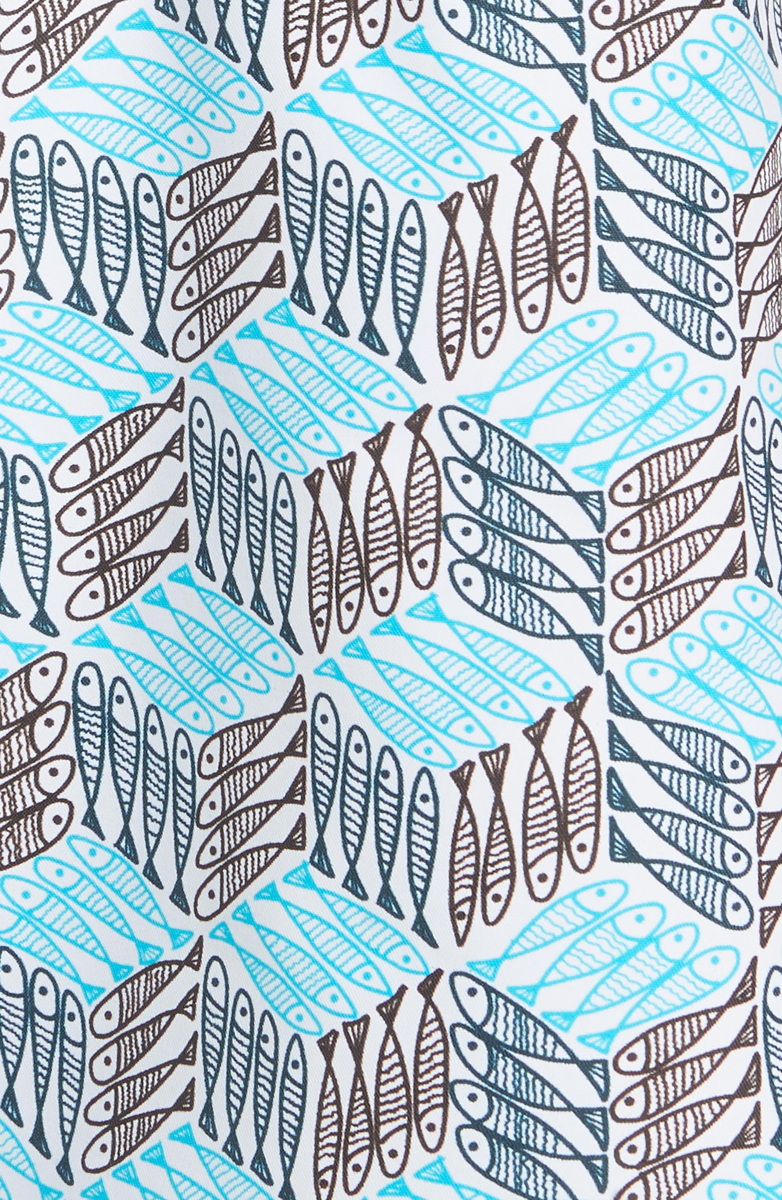 Fishes Cube Print Swim Trunks,                             Alternate thumbnail 5, color,                             AZURE