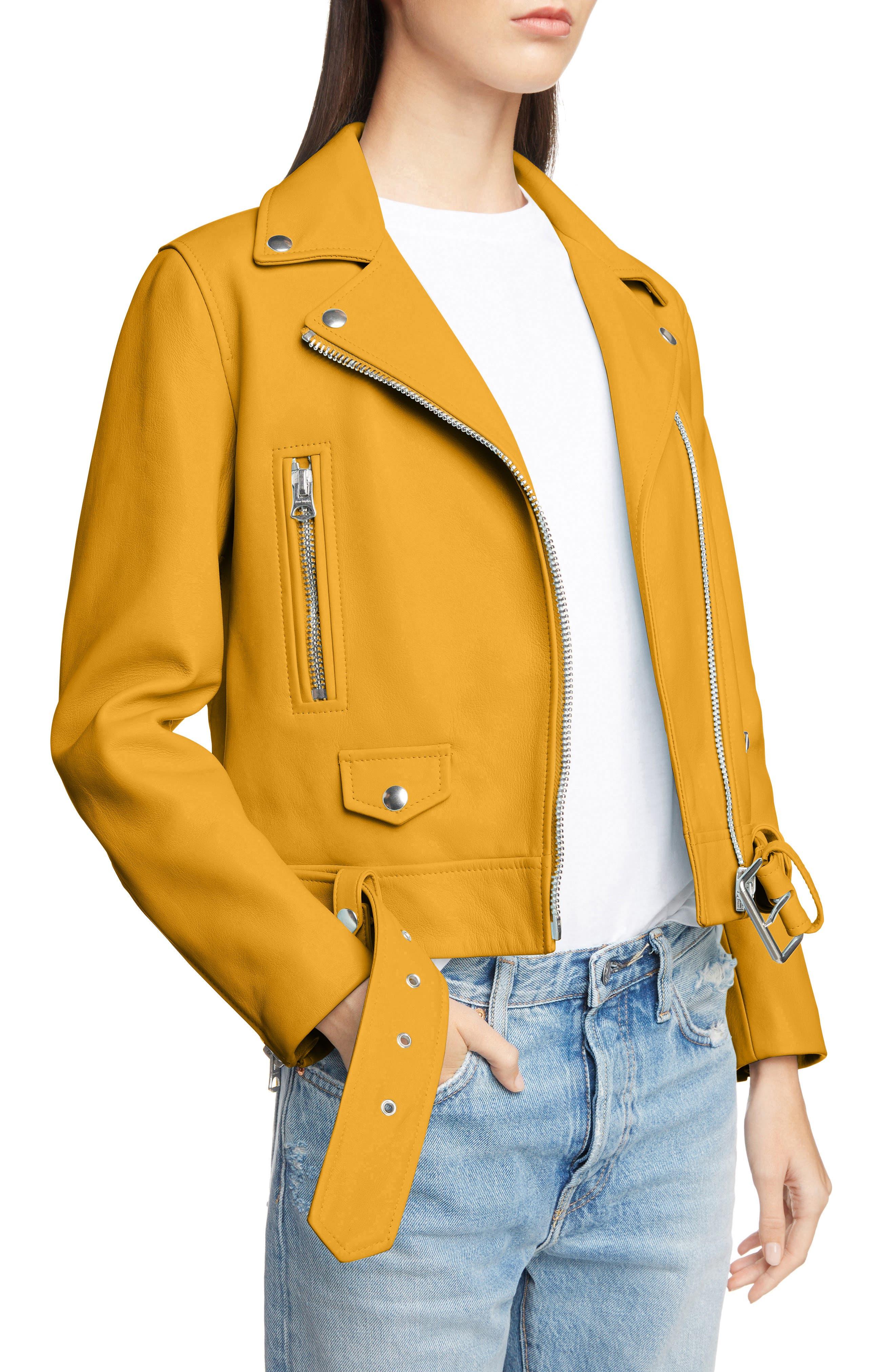 Mock Core Leather Moto Jacket,                             Alternate thumbnail 4, color,                             SUNFLOWER YELLOW