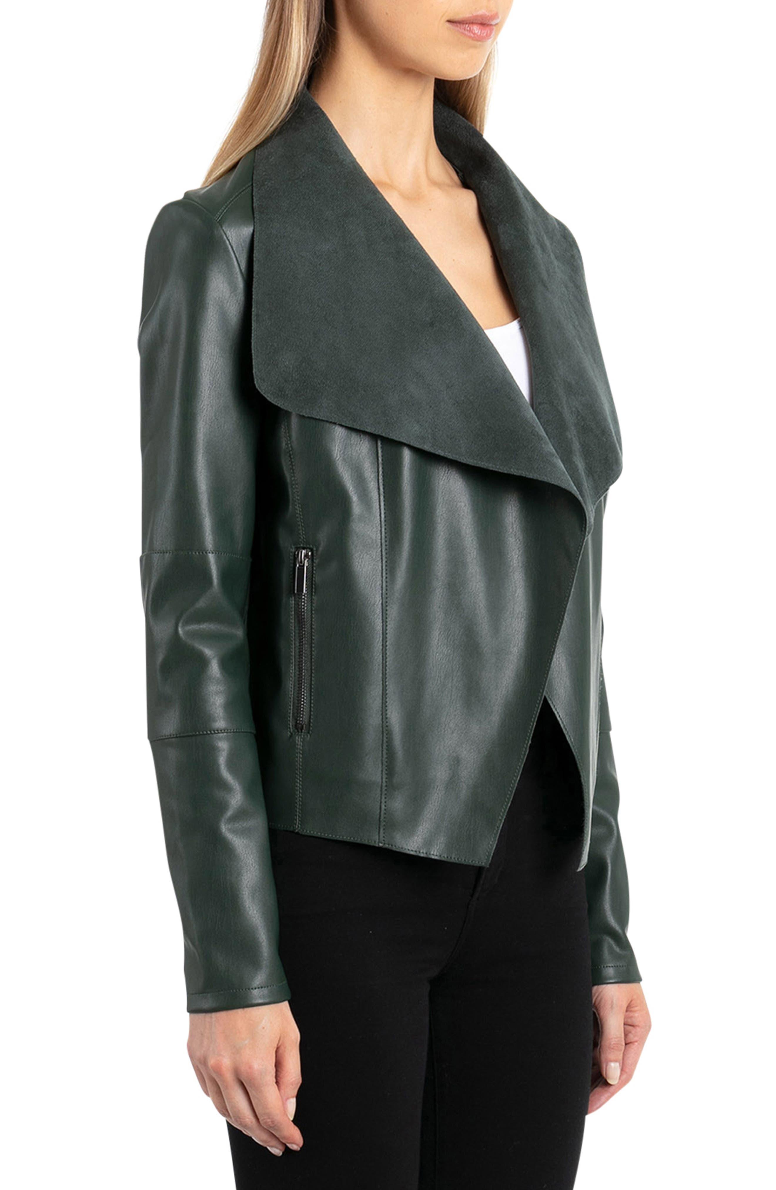 Drape Faux Leather & Faux Suede Jacket,                             Alternate thumbnail 3, color,                             EMERALD