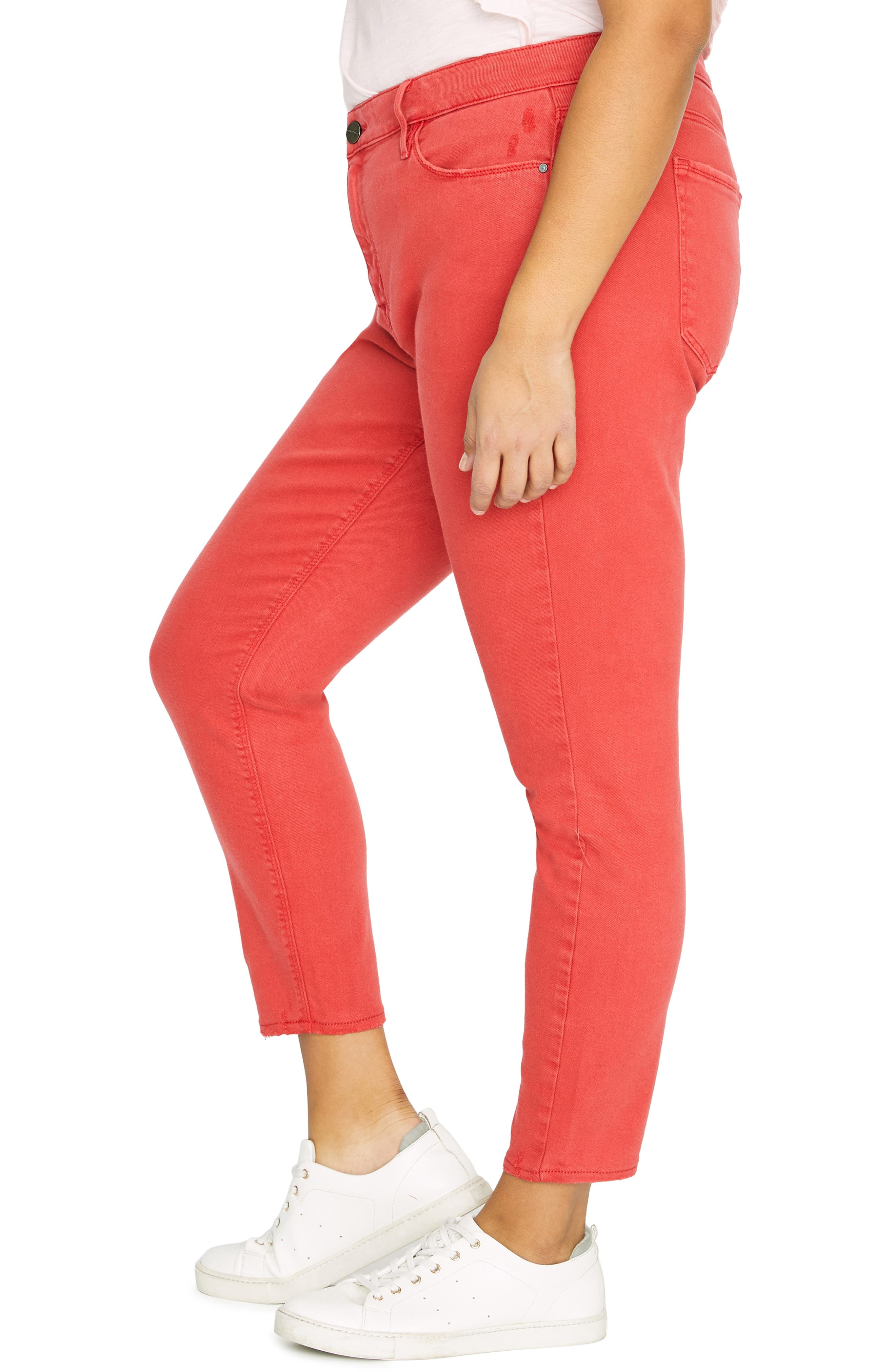 Ankle Skinny Jeans,                             Alternate thumbnail 3, color,                             CALIF POPPY