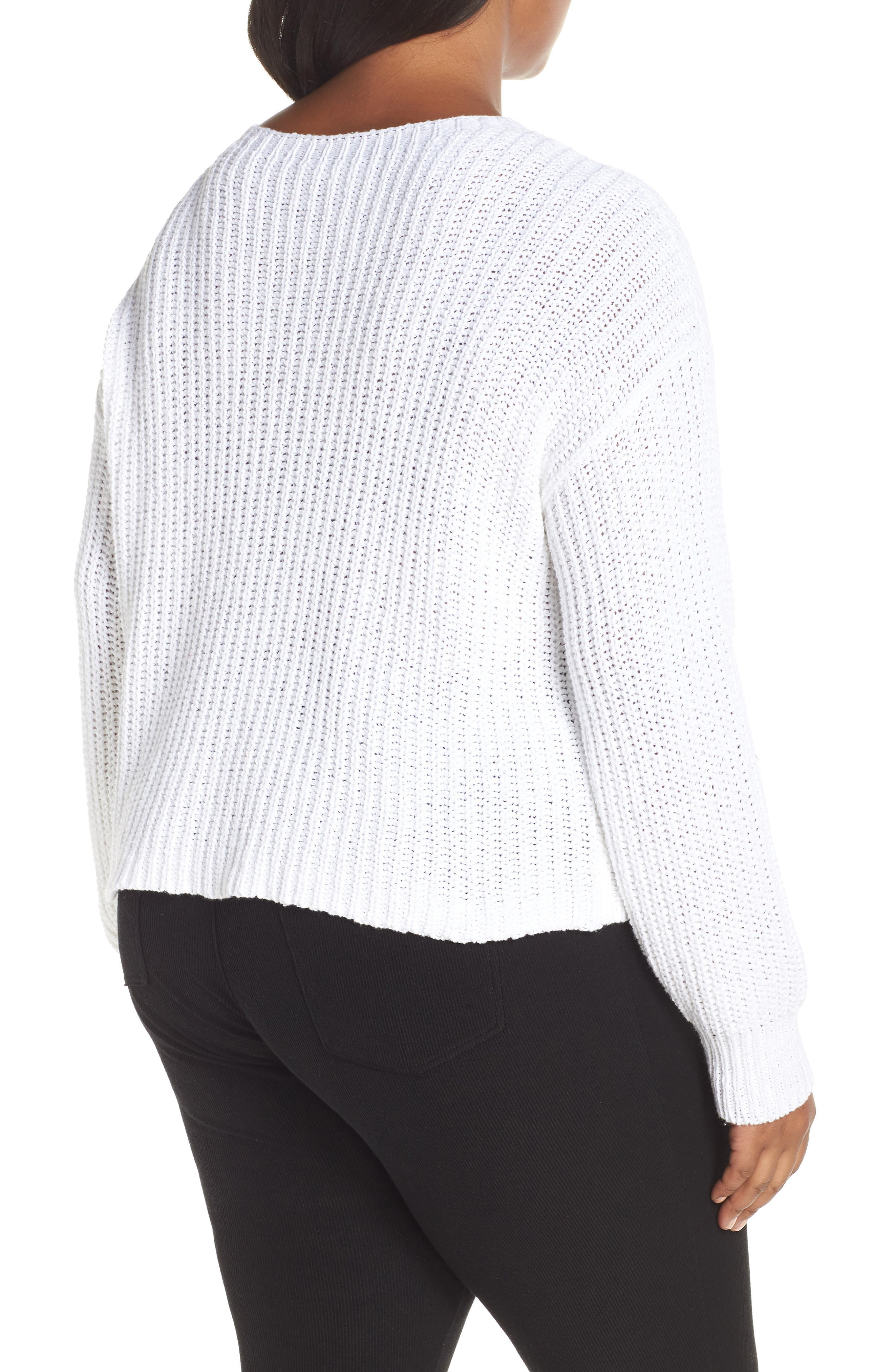 Crewneck Crop Shaker Sweater,                             Alternate thumbnail 8, color,                             WHITE