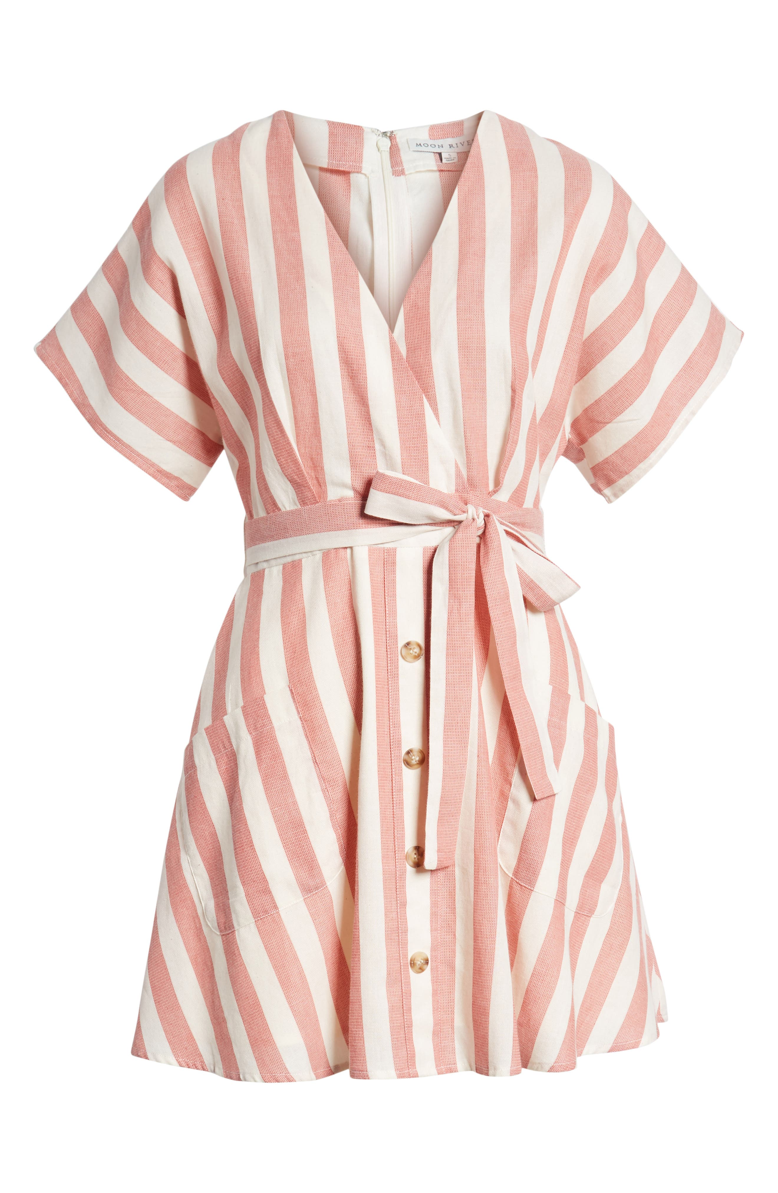 Stripe Cotton Wrap Dress,                             Alternate thumbnail 7, color,                             RED STRIPE