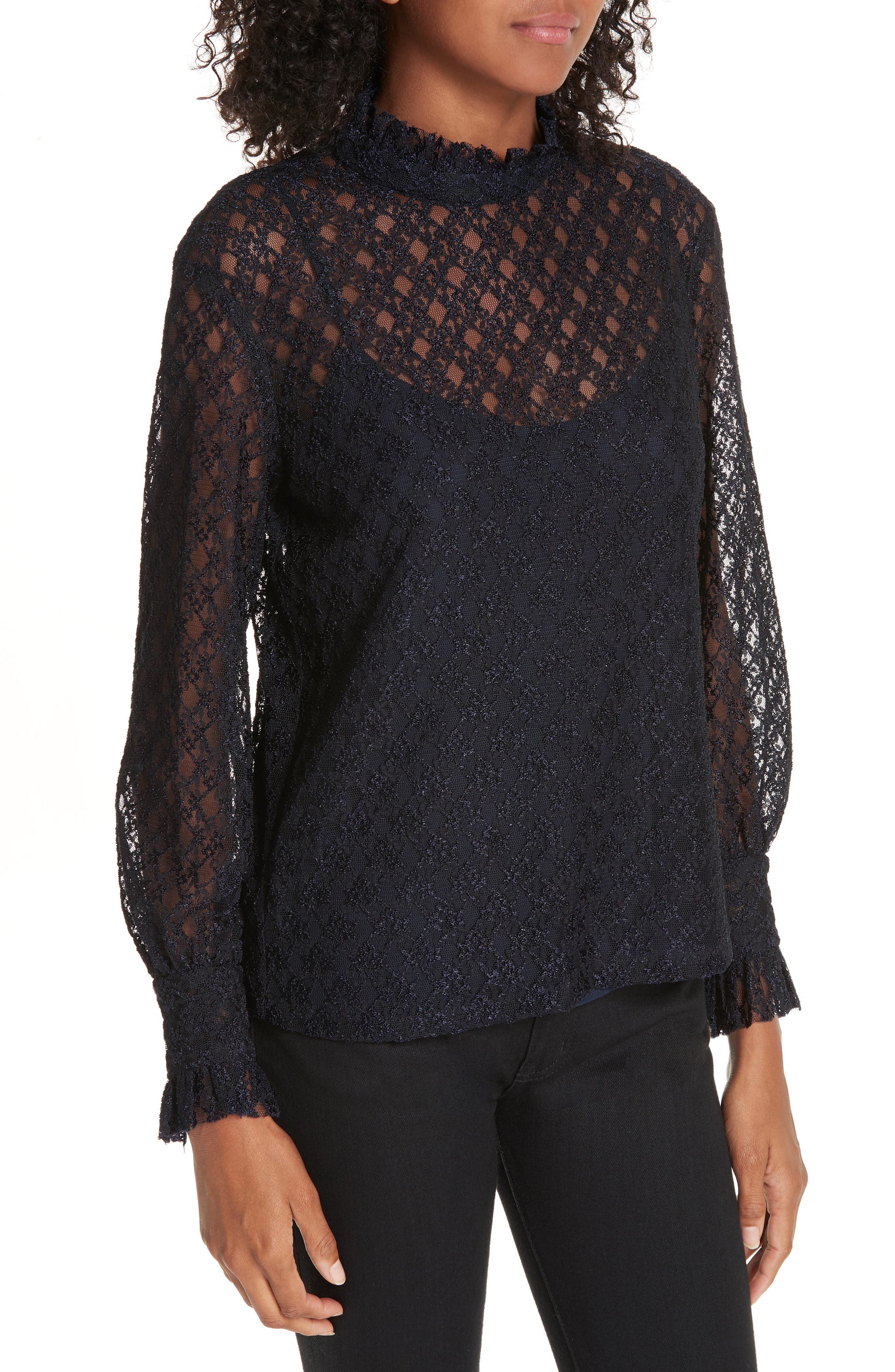 Cacahuete Lace Top,                             Alternate thumbnail 4, color,                             DEEP NAVY