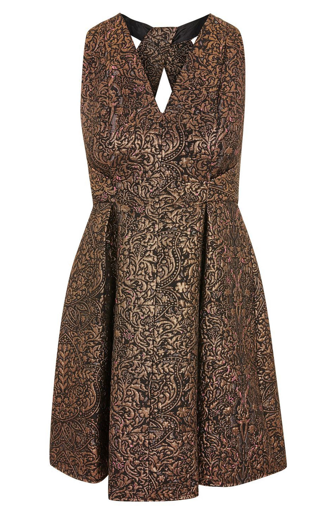 Opulent Jacquard Skater Dress,                             Alternate thumbnail 3, color,                             220
