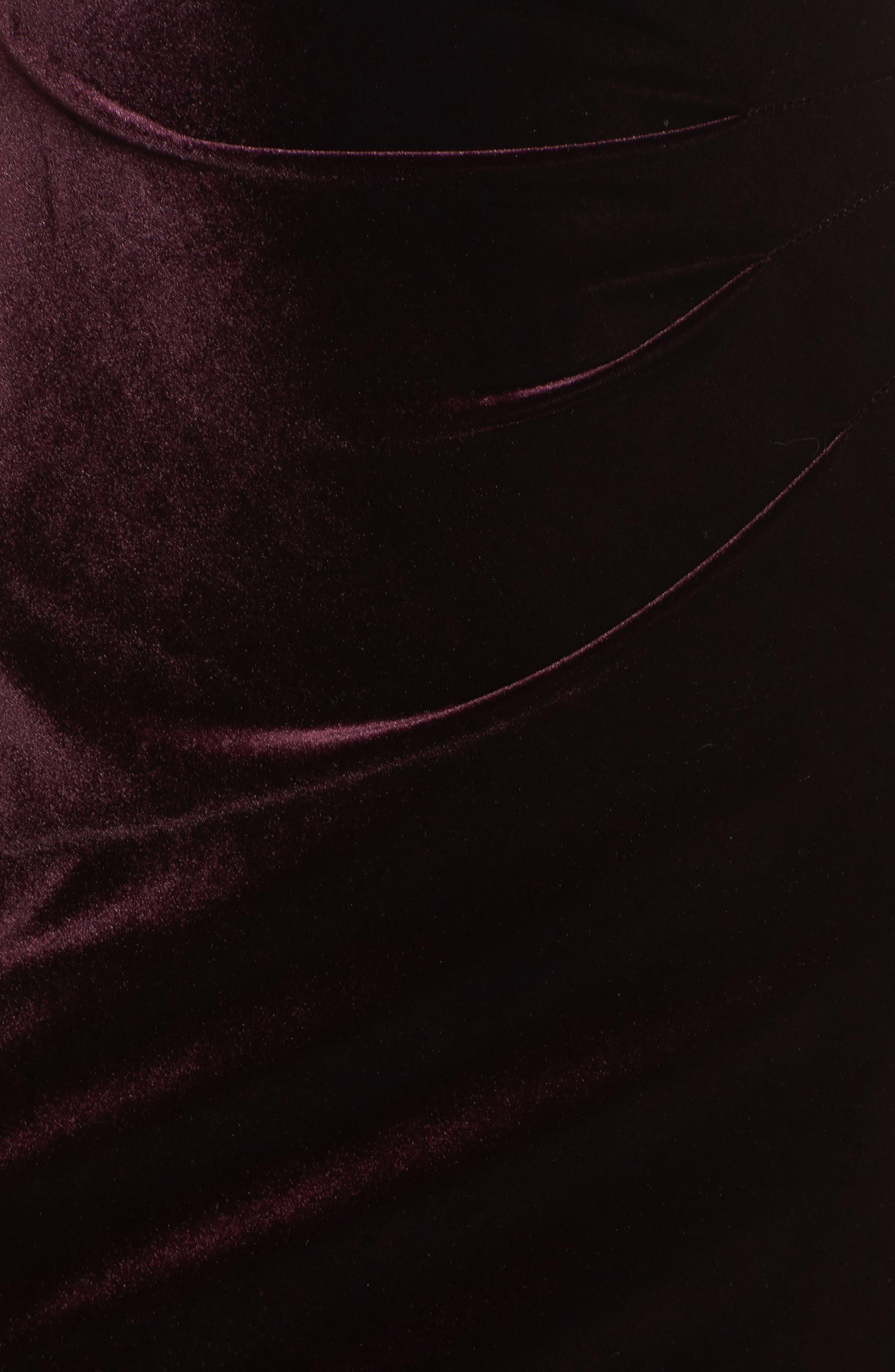 Side Pleated Velvet Choker Gown,                             Alternate thumbnail 5, color,                             507