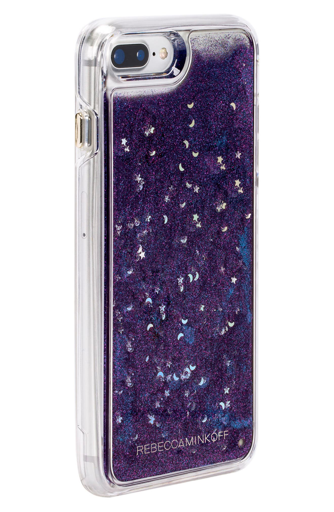 Galaxy Glitter iPhone 7/8 & 7/8 Plus Case,                             Alternate thumbnail 2, color,                             BLACK BLUE GLITTER