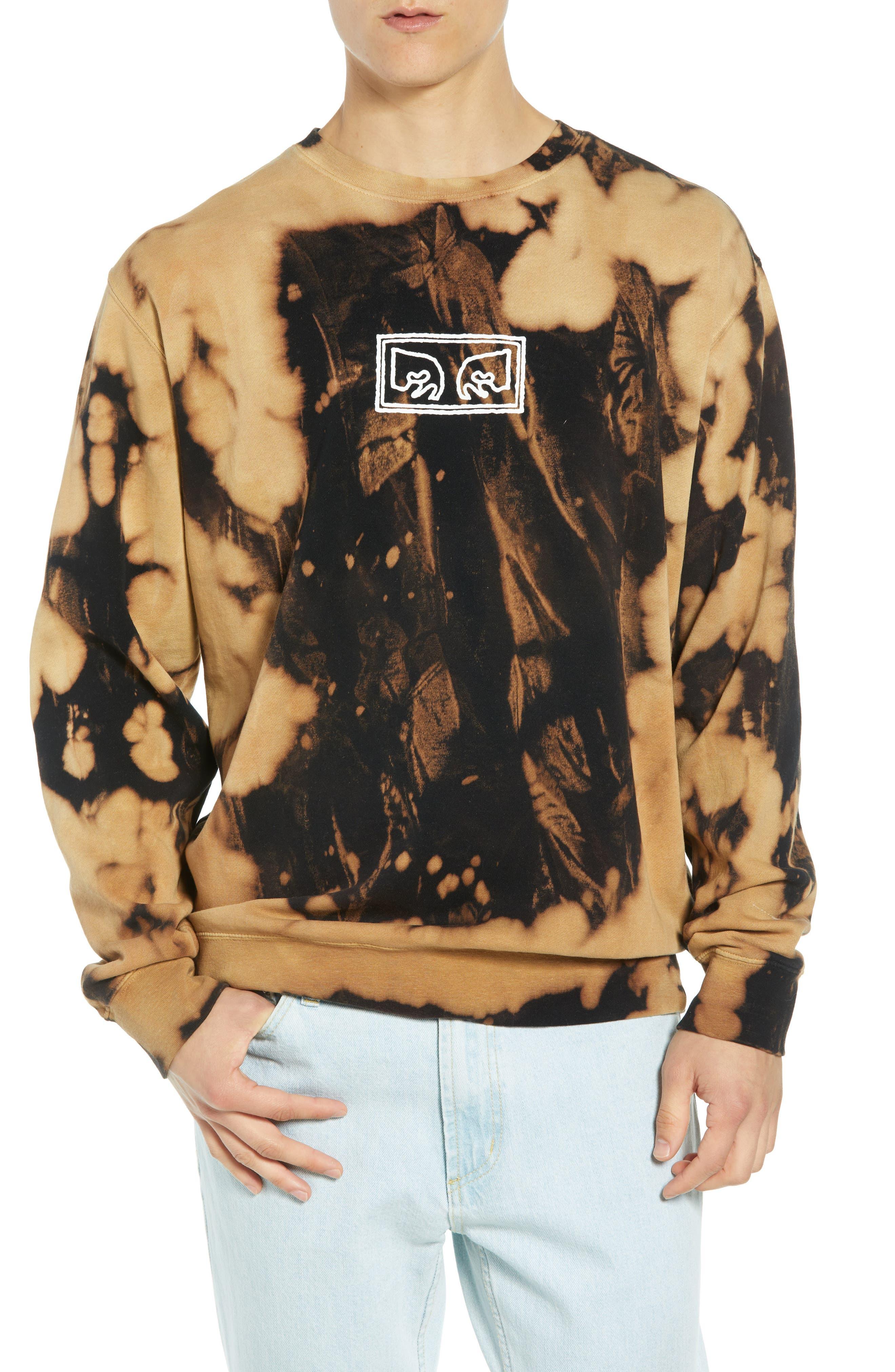 Jumbled Eyes Bleachy Sweatshirt,                         Main,                         color, BLACK