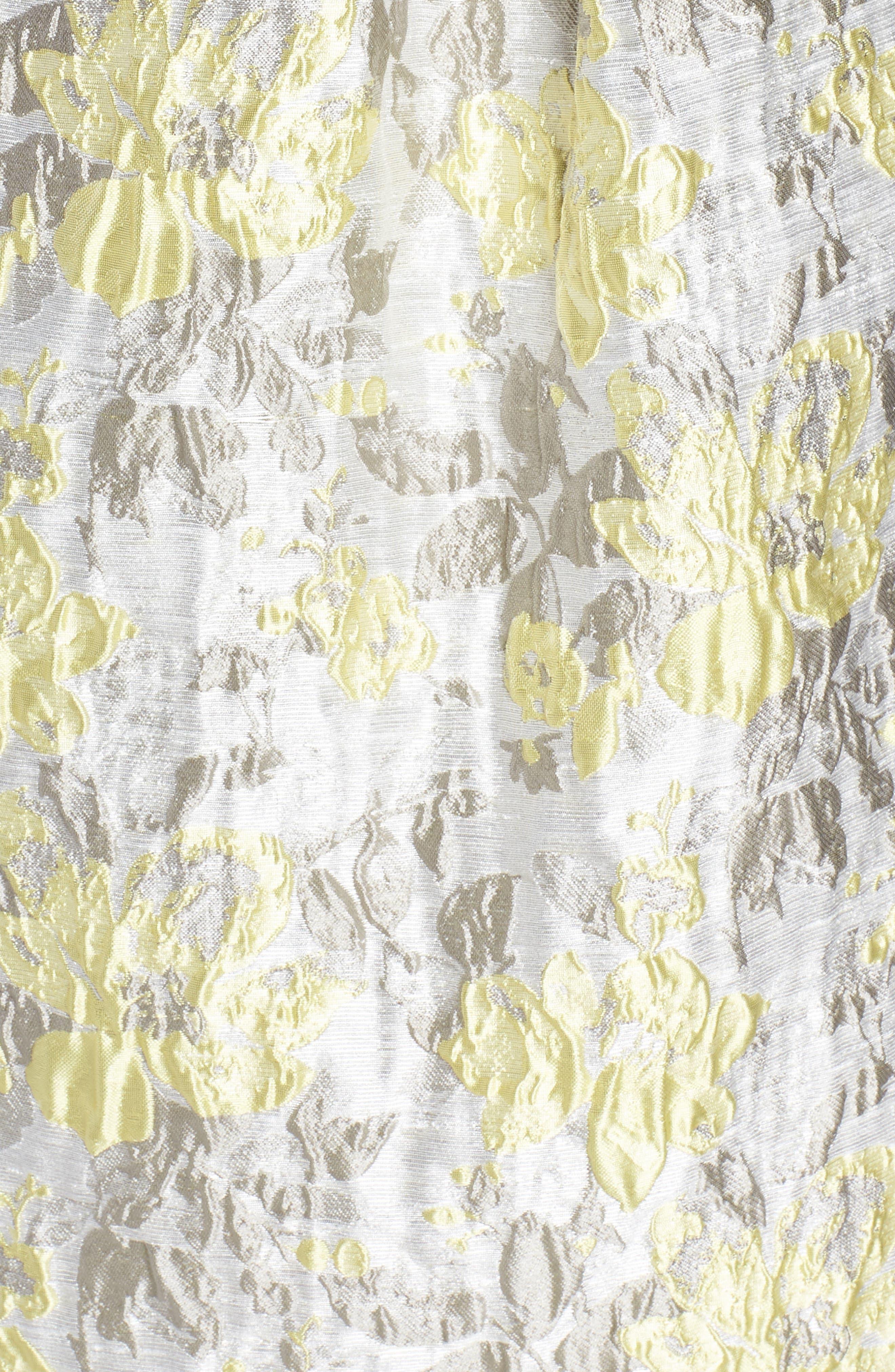 ELIZA J,                             Floral Jacquard Fit & Flare Dress,                             Alternate thumbnail 6, color,                             SILVER COMBO