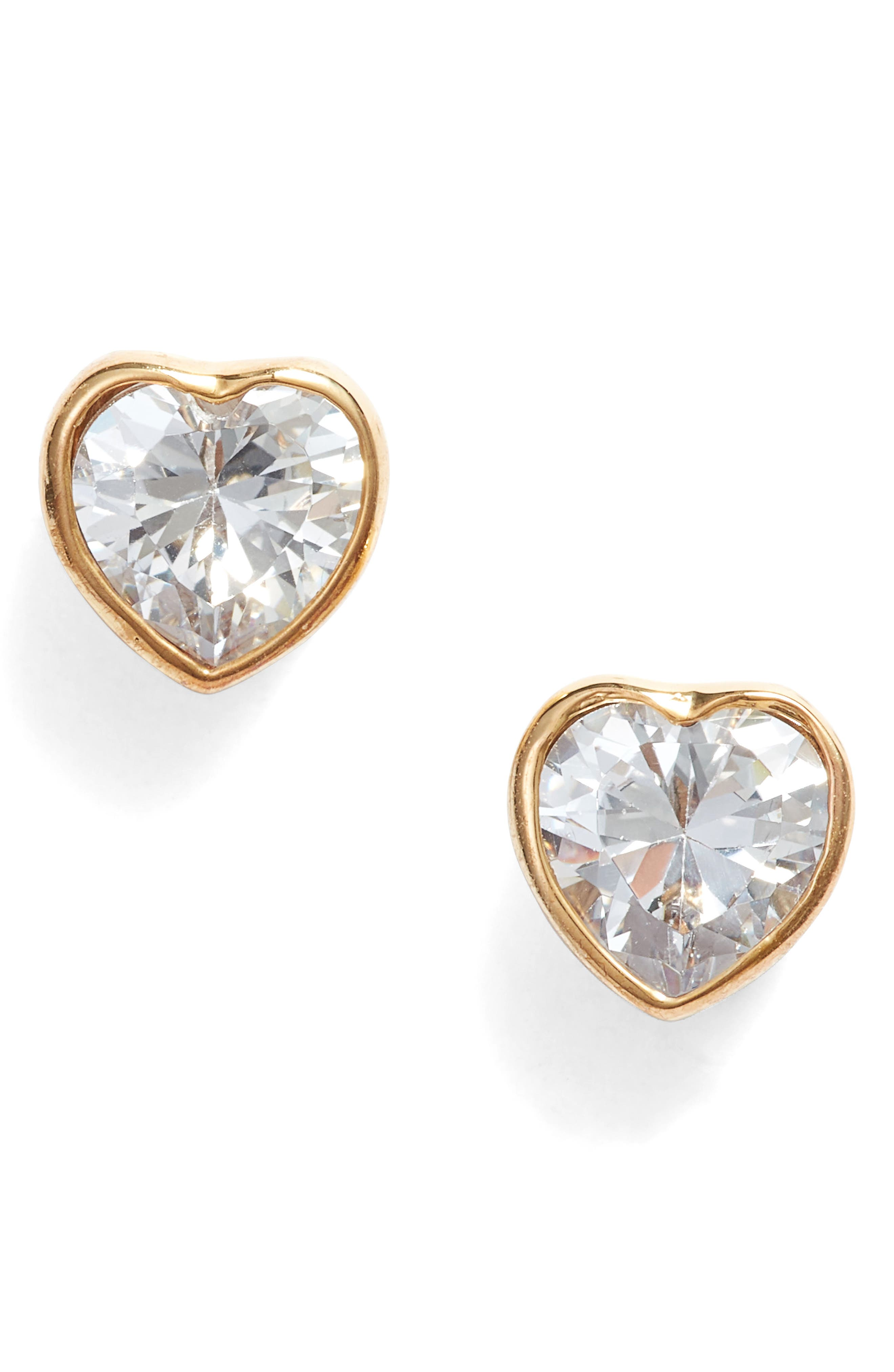 romantic rocks stud earrings, Main, color, CLEAR/ GOLD