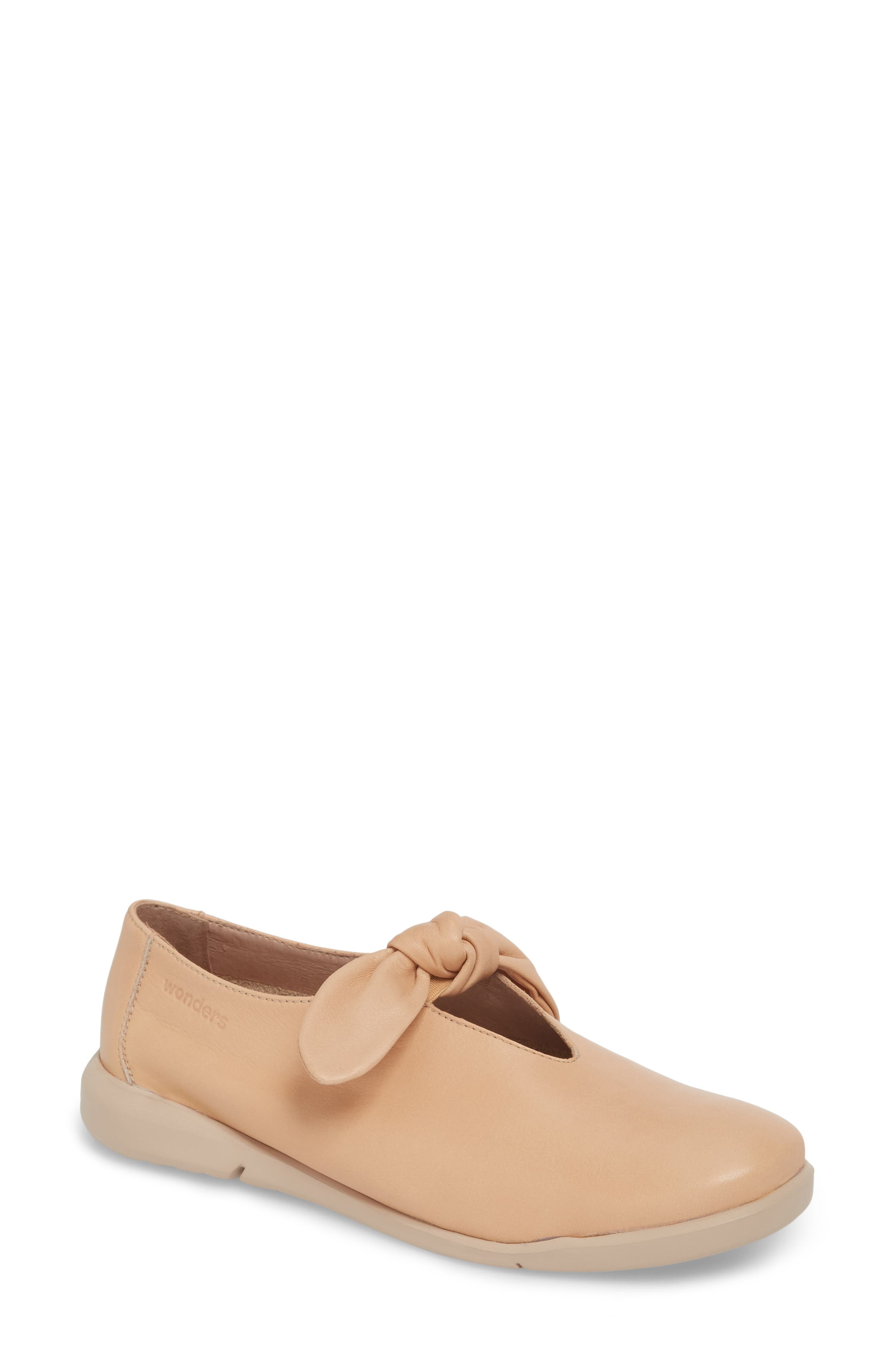 Knotted Mary Jane Flat,                             Main thumbnail 1, color,                             PALO BEIGE LEATHER