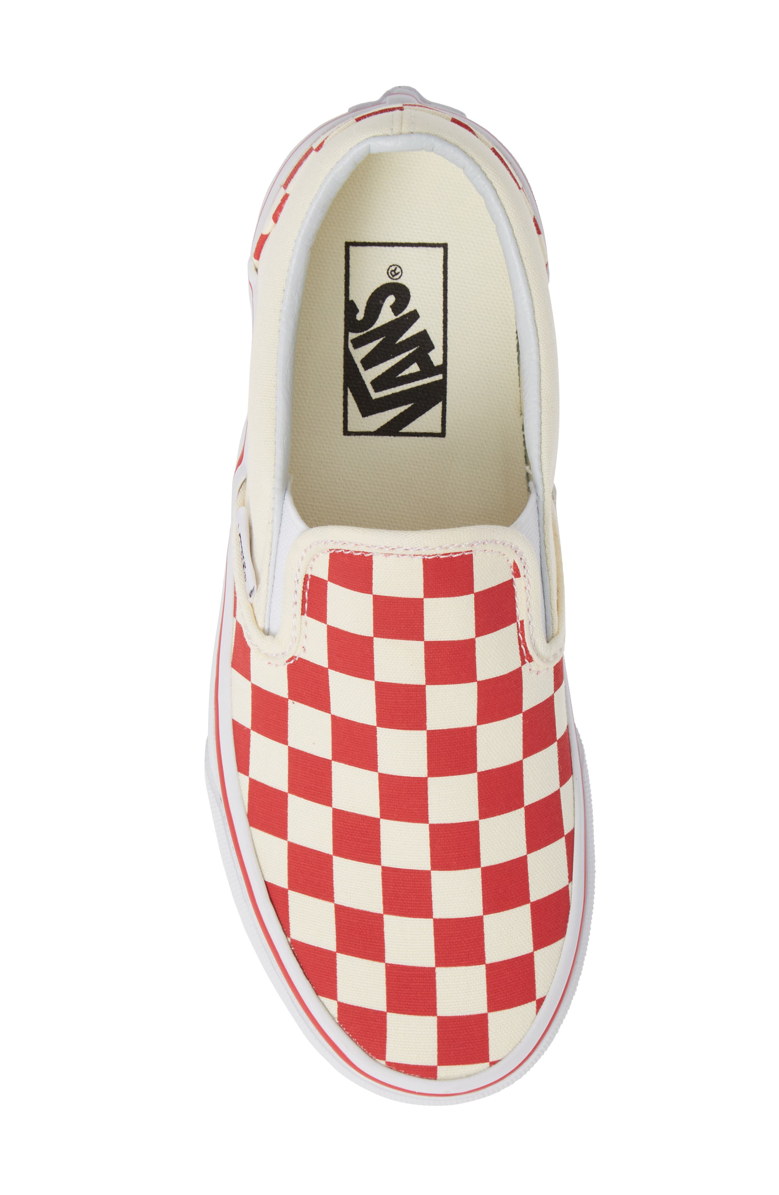 'Classic' Slip-On,                             Alternate thumbnail 5, color,                             RACING RED/ WHITE