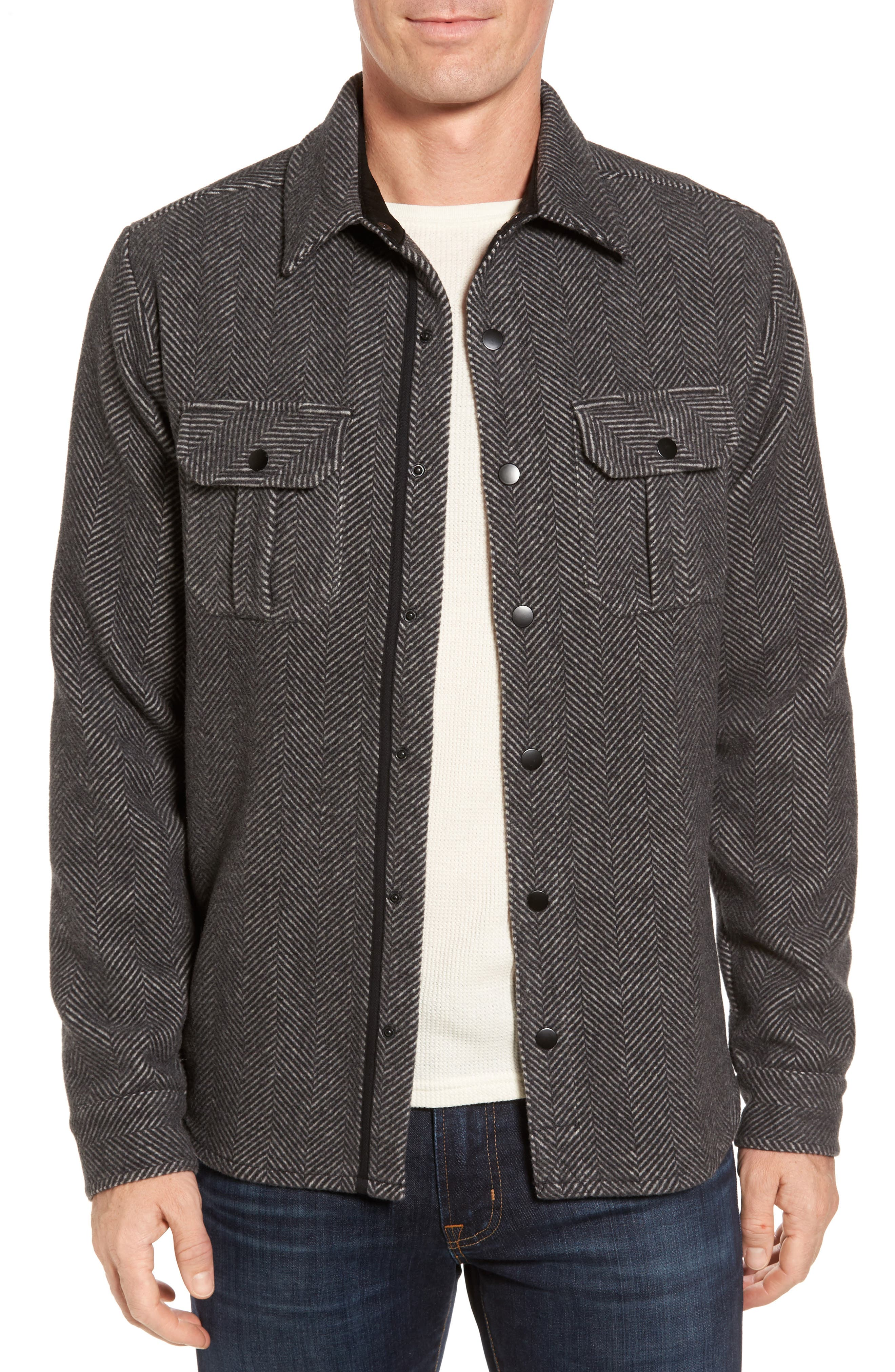 Anchor Line Herringbone Wool Blend Shirt Jacket,                             Main thumbnail 1, color,