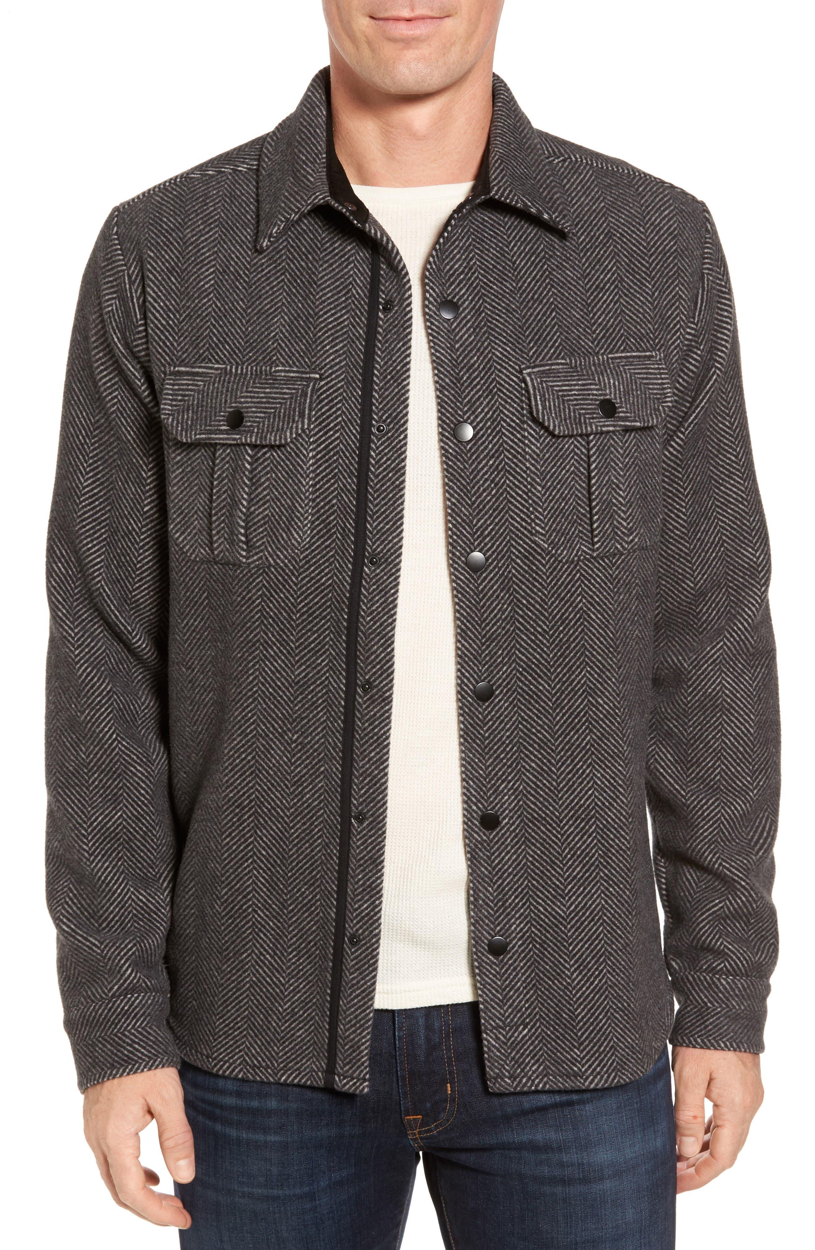 Anchor Line Herringbone Wool Blend Shirt Jacket,                         Main,                         color,
