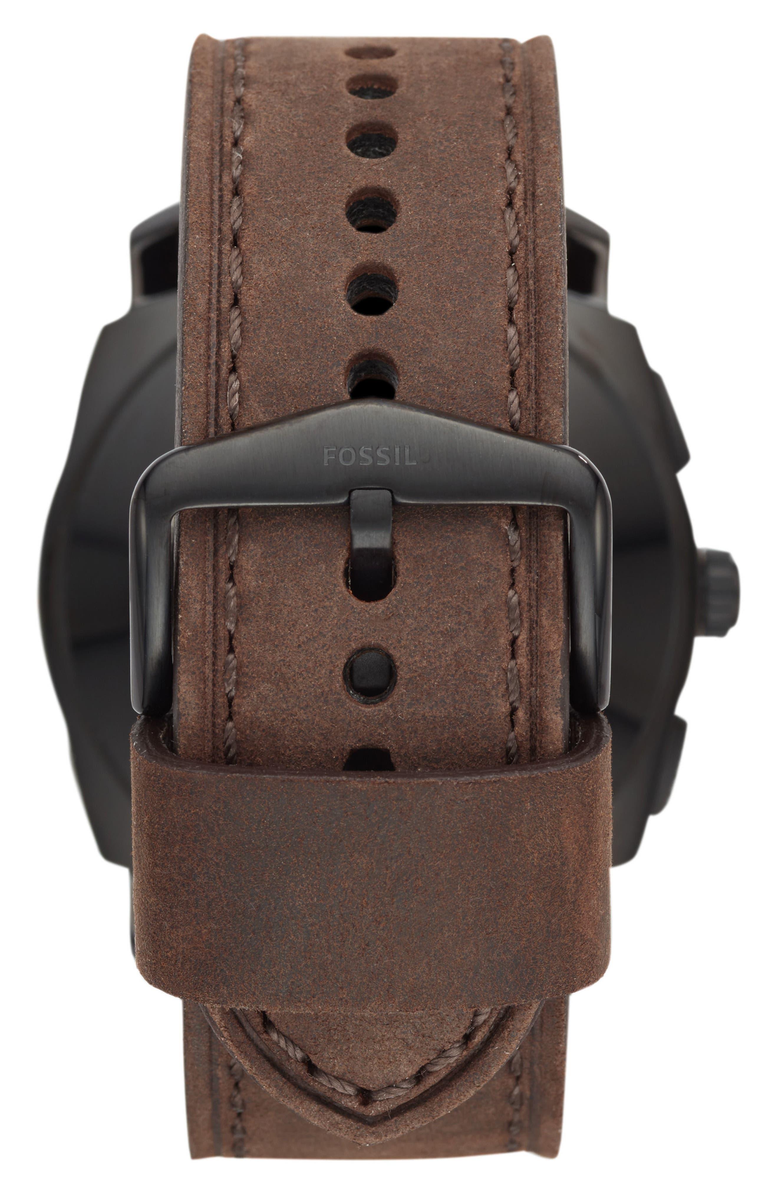 Machine Leather Strap Hybrid Smart Watch, 45mm,                             Alternate thumbnail 2, color,                             BROWN/ BLACK