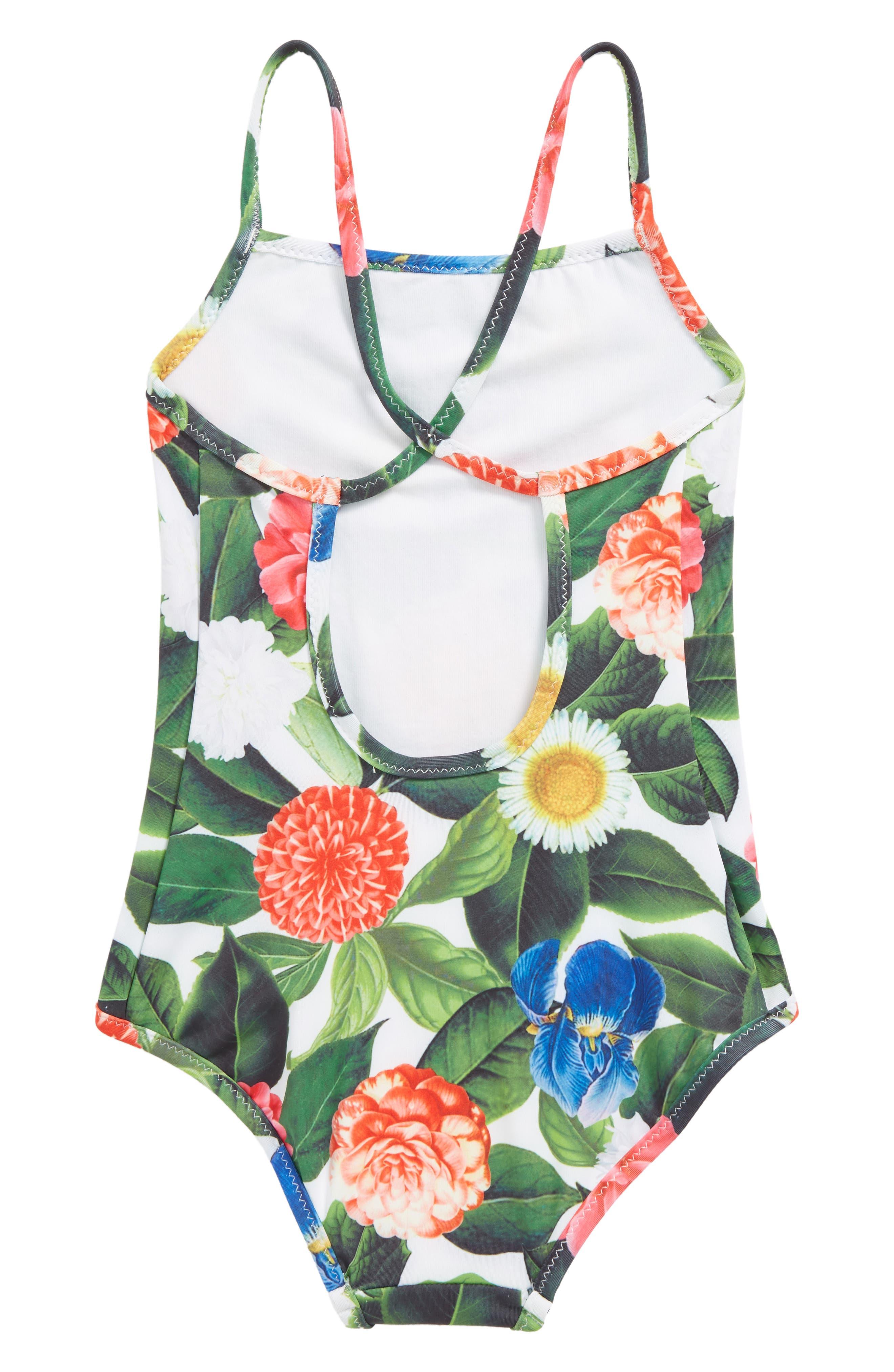 Flower Jungle One-Piece Swimsuit,                             Alternate thumbnail 2, color,