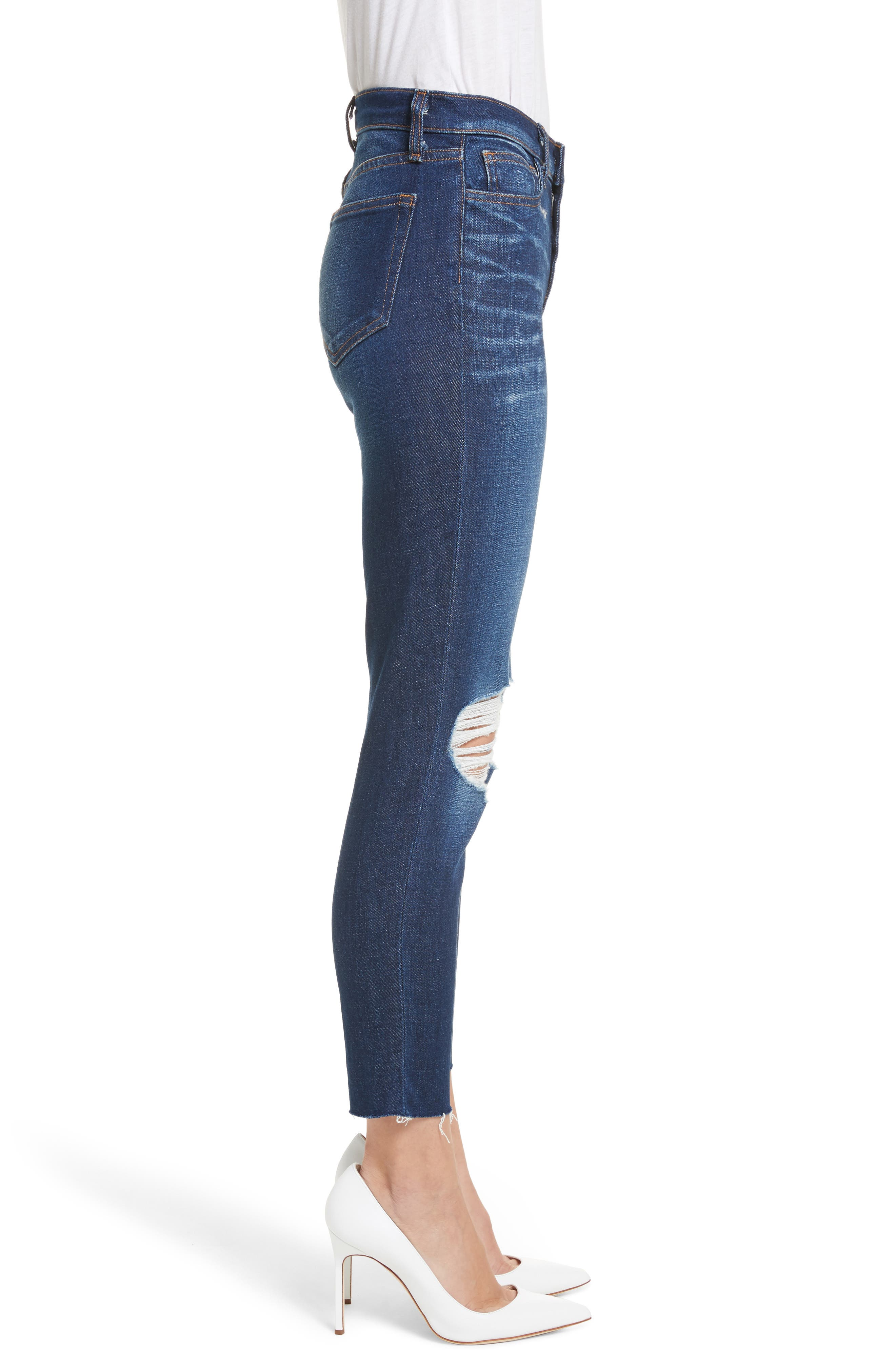 Abigail French Slim Ripped Skinny Jeans,                             Alternate thumbnail 3, color,                             401