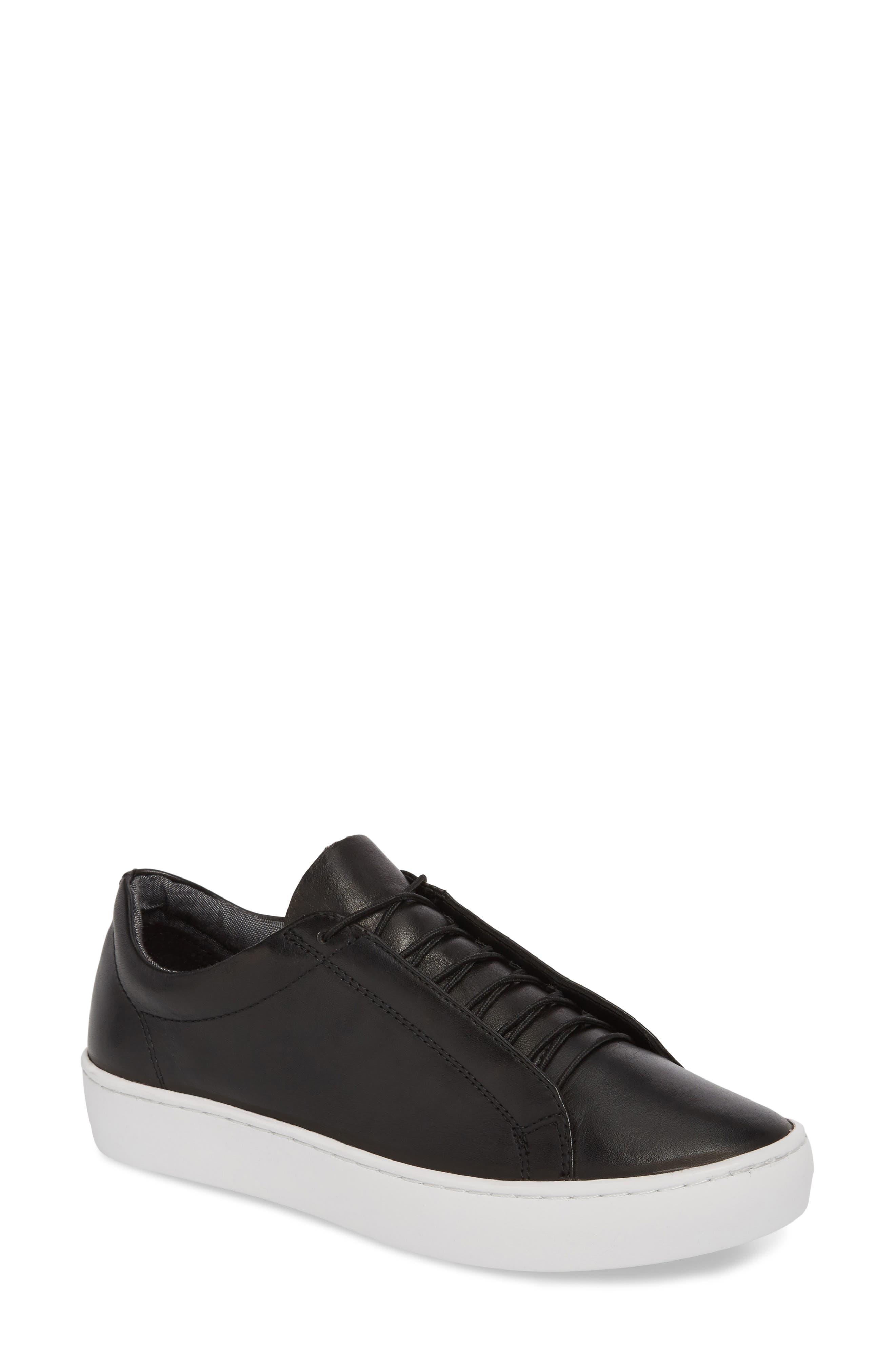 Zoe Sneaker,                         Main,                         color, BLACK LEATHER