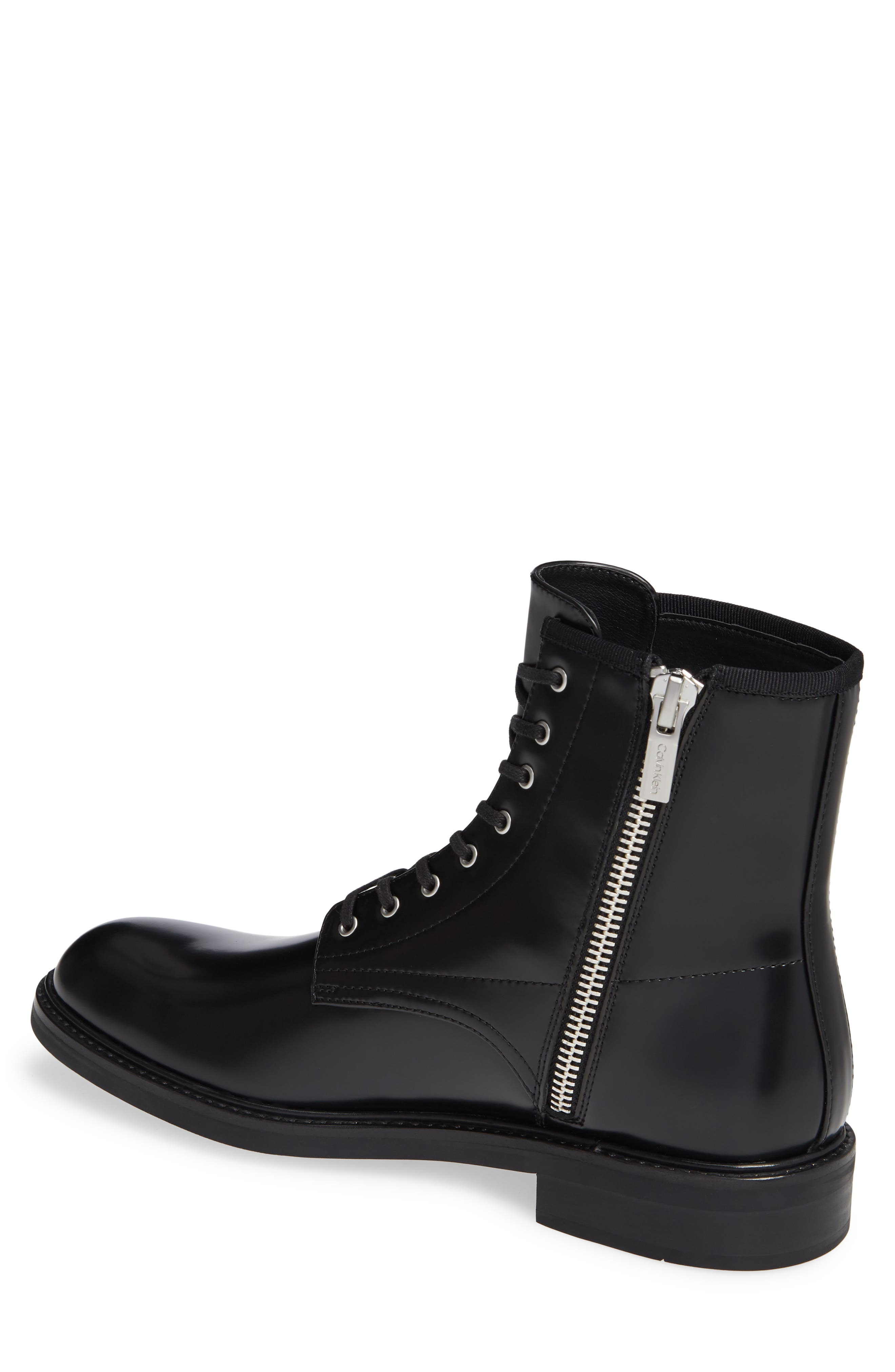 Keeler Combat Boot,                             Alternate thumbnail 2, color,                             BLACK LEATHER