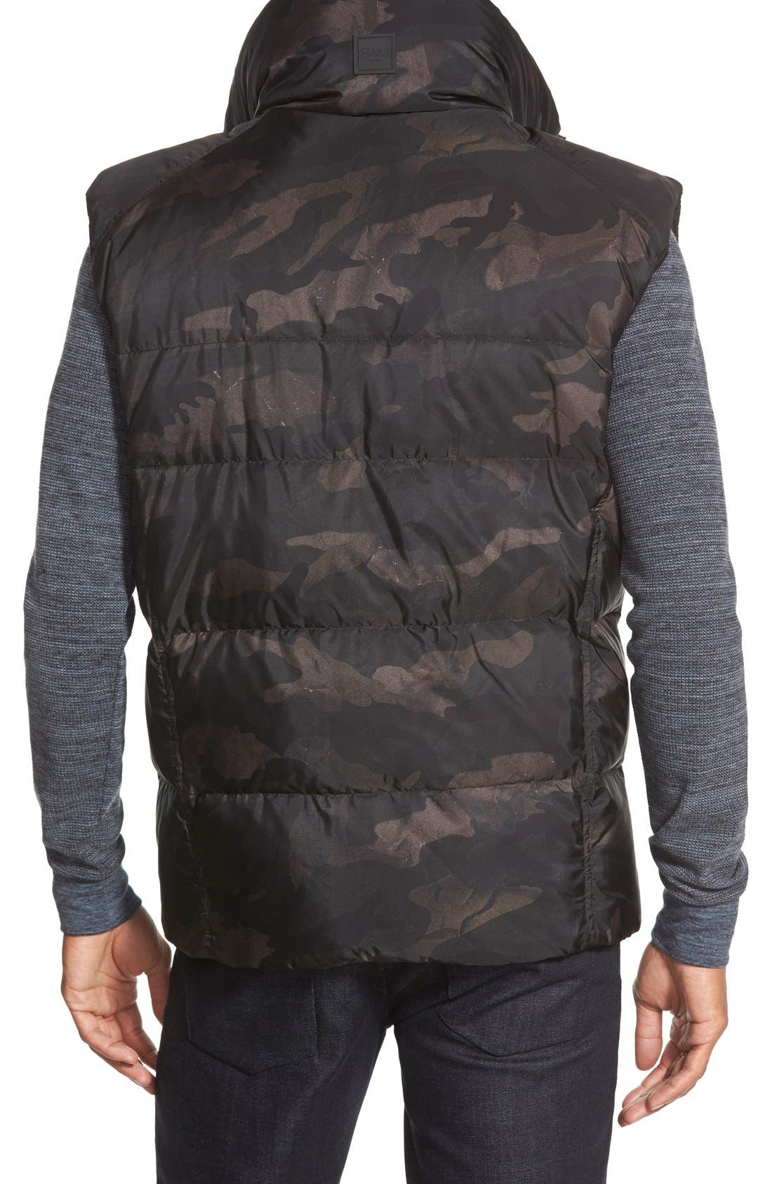 'Racer' Camo Print Down Vest,                             Alternate thumbnail 3, color,                             315