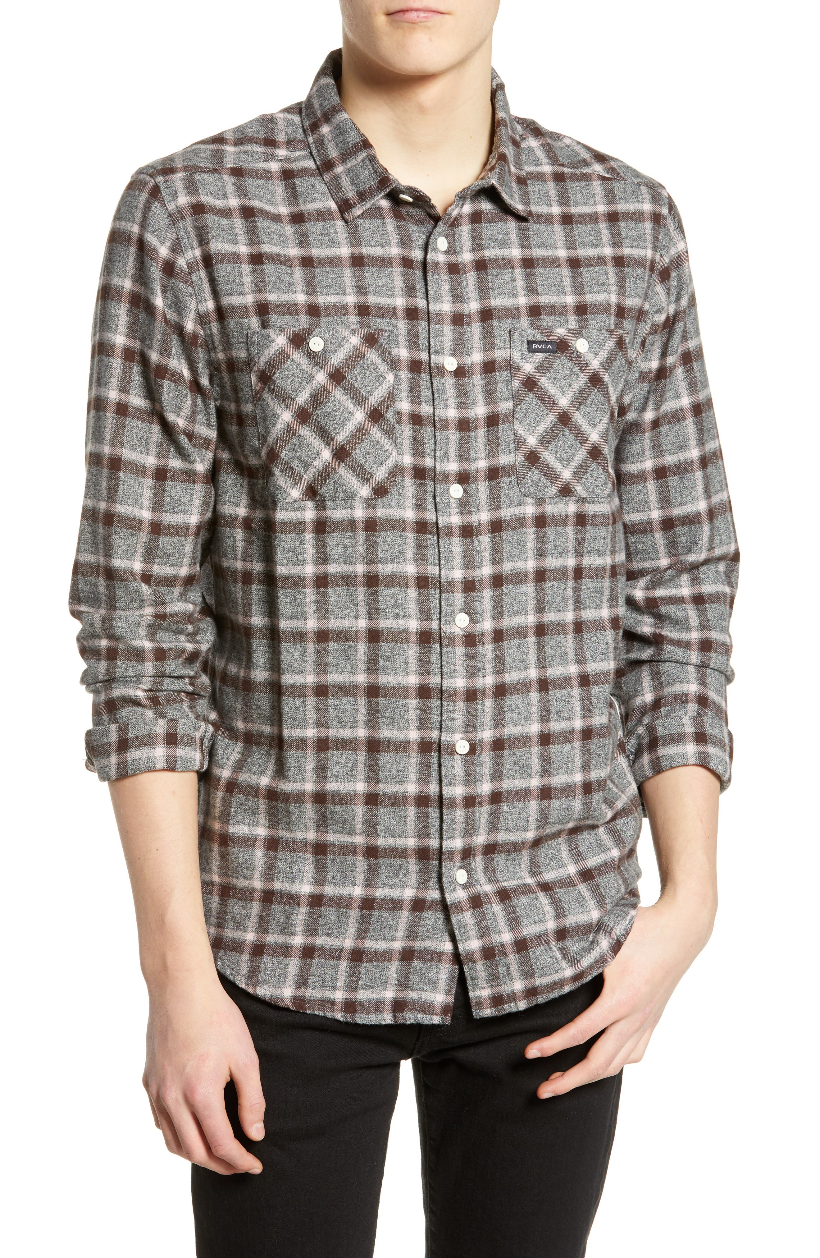 Rvca Hero Flannel Shirt, Ivory