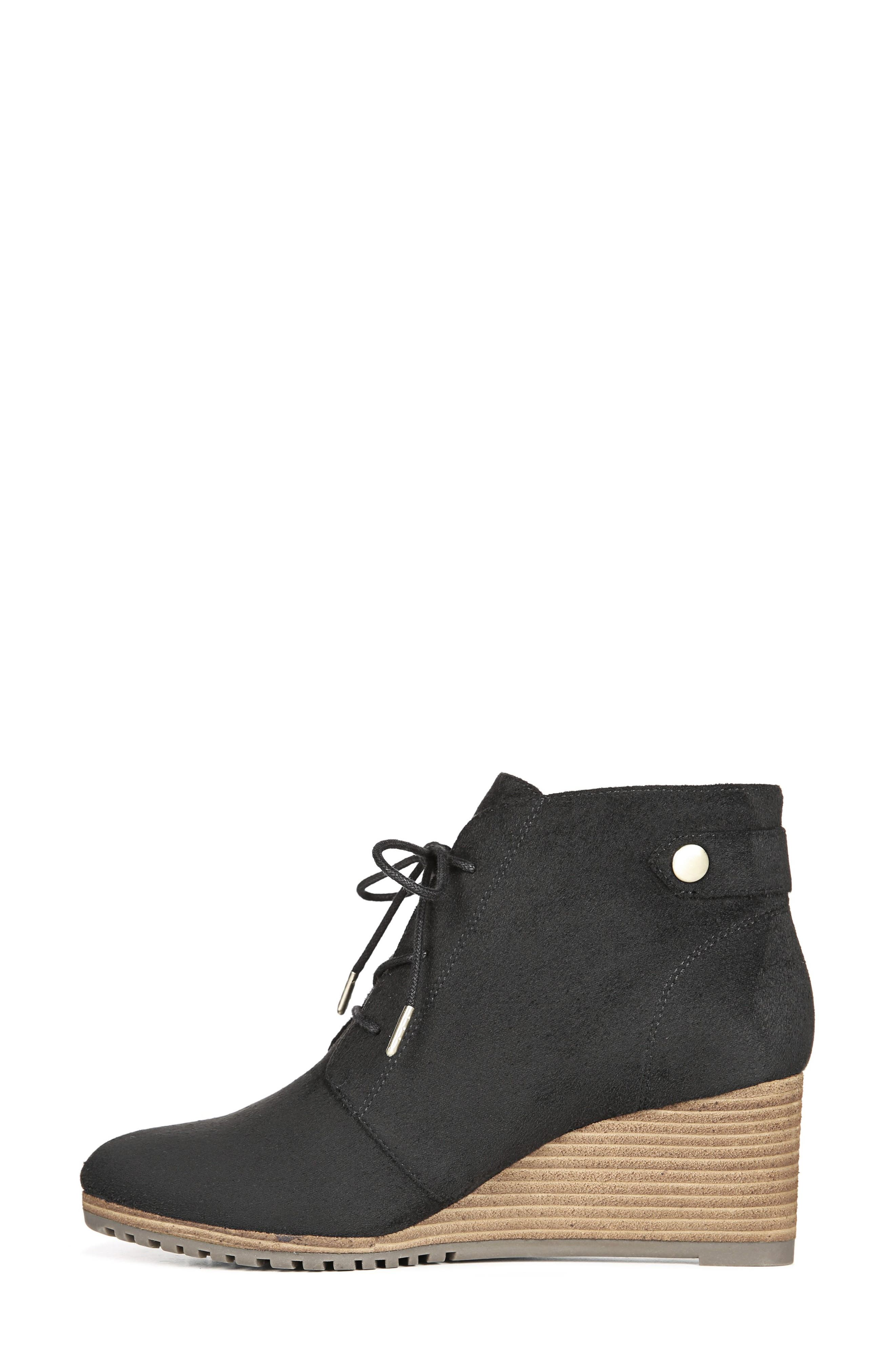 Conquer Wedge Bootie,                             Alternate thumbnail 7, color,                             BLACK FABRIC