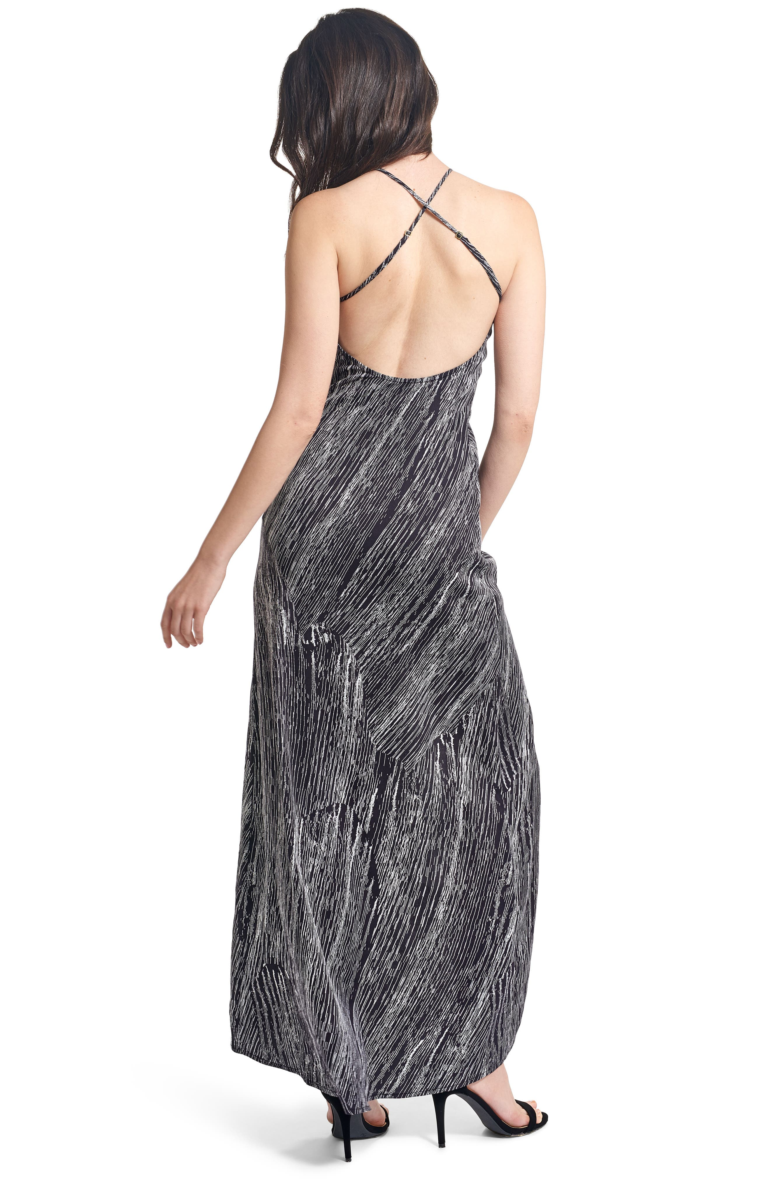 Halter Maxi Dress,                             Alternate thumbnail 5, color,                             001