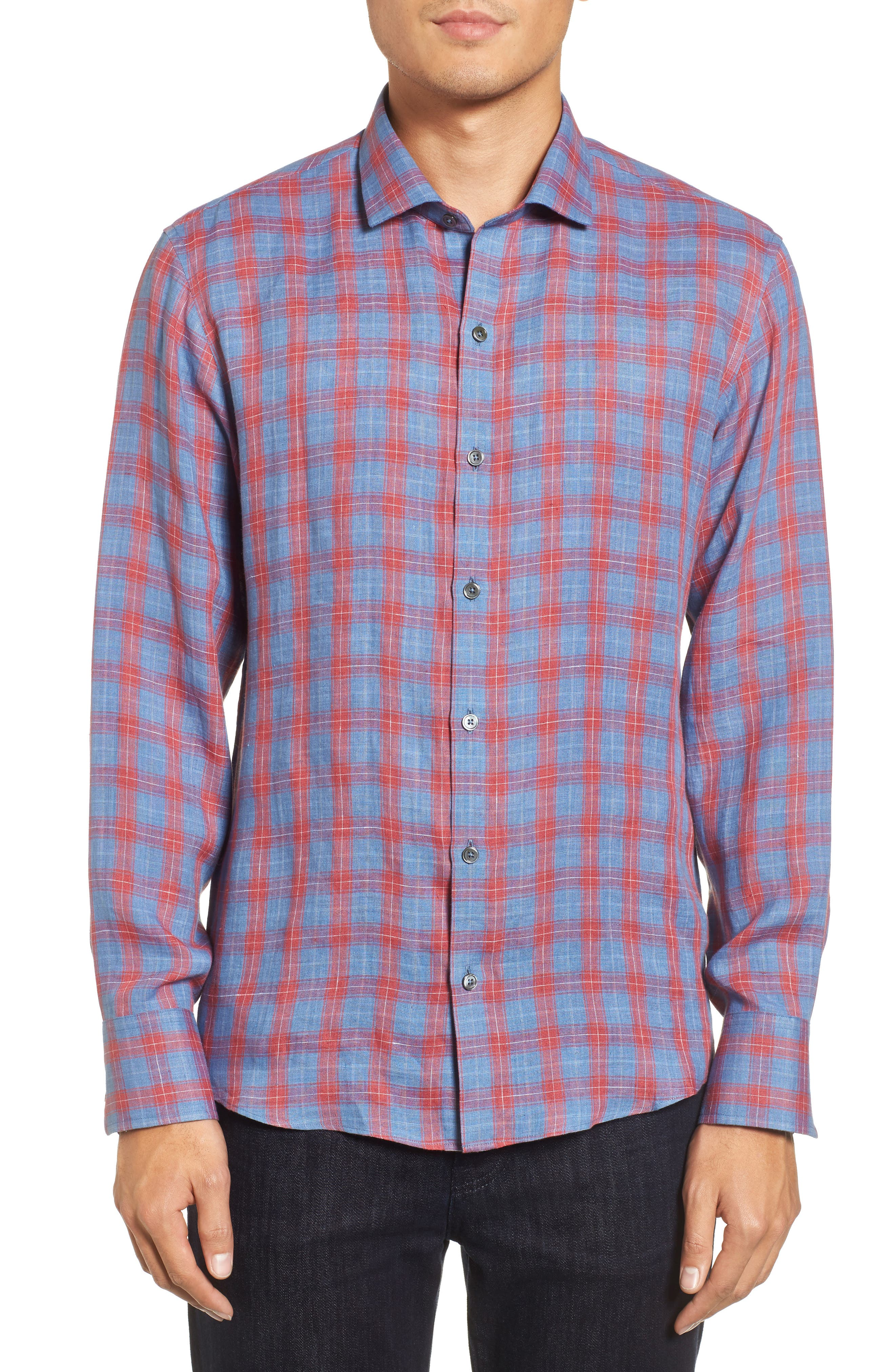 Liam Plaid Woven Sport Shirt,                         Main,                         color, RED