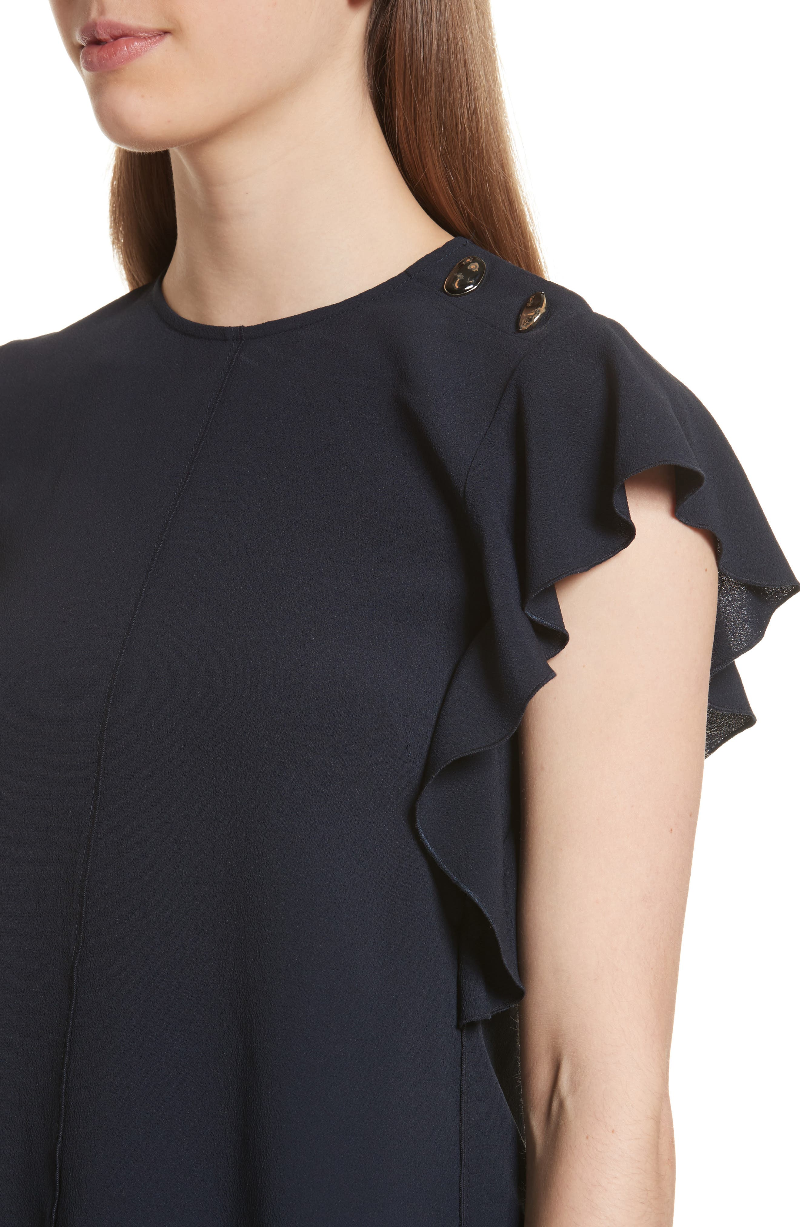 Button Detail Ruffled Top,                             Alternate thumbnail 4, color,                             401