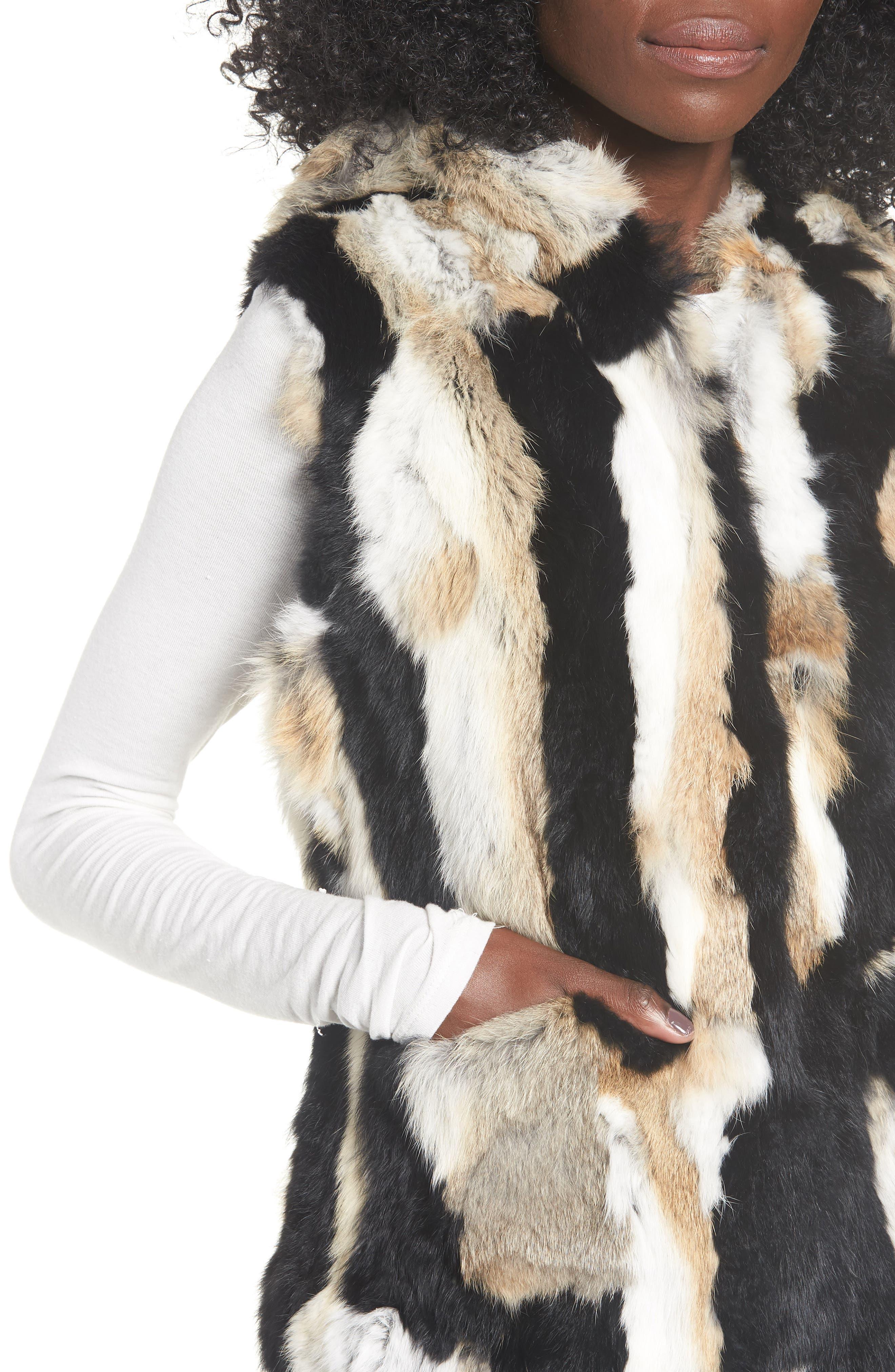 Genuine Rabbit Fur Hooded Vest,                             Alternate thumbnail 4, color,                             BROWN COMBO