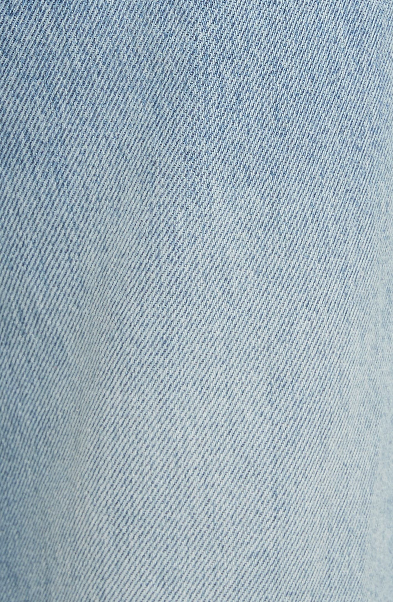 Pom Trim Crop Jeans,                             Alternate thumbnail 5, color,                             489