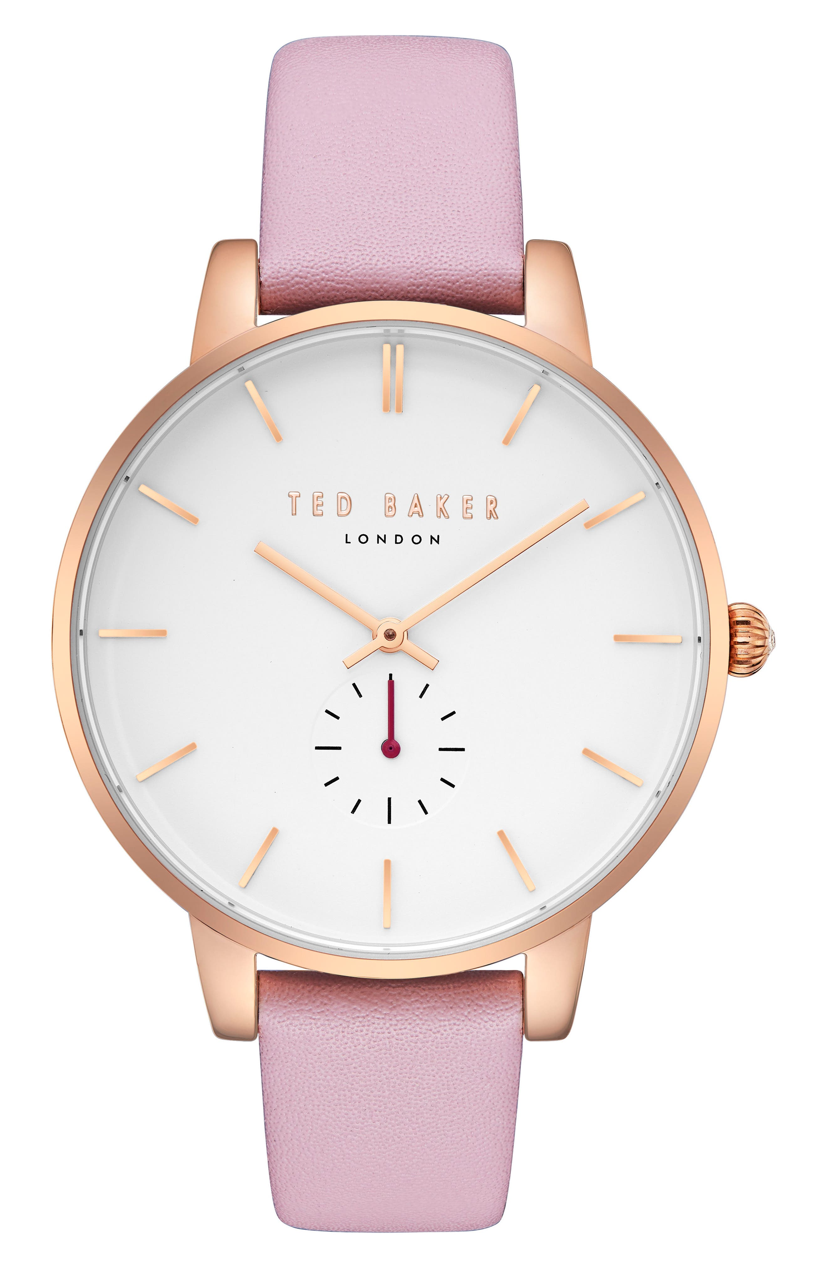 Olivia Leather Strap Watch,                             Main thumbnail 1, color,                             PINK/ WHITE/ ROSE GOLD