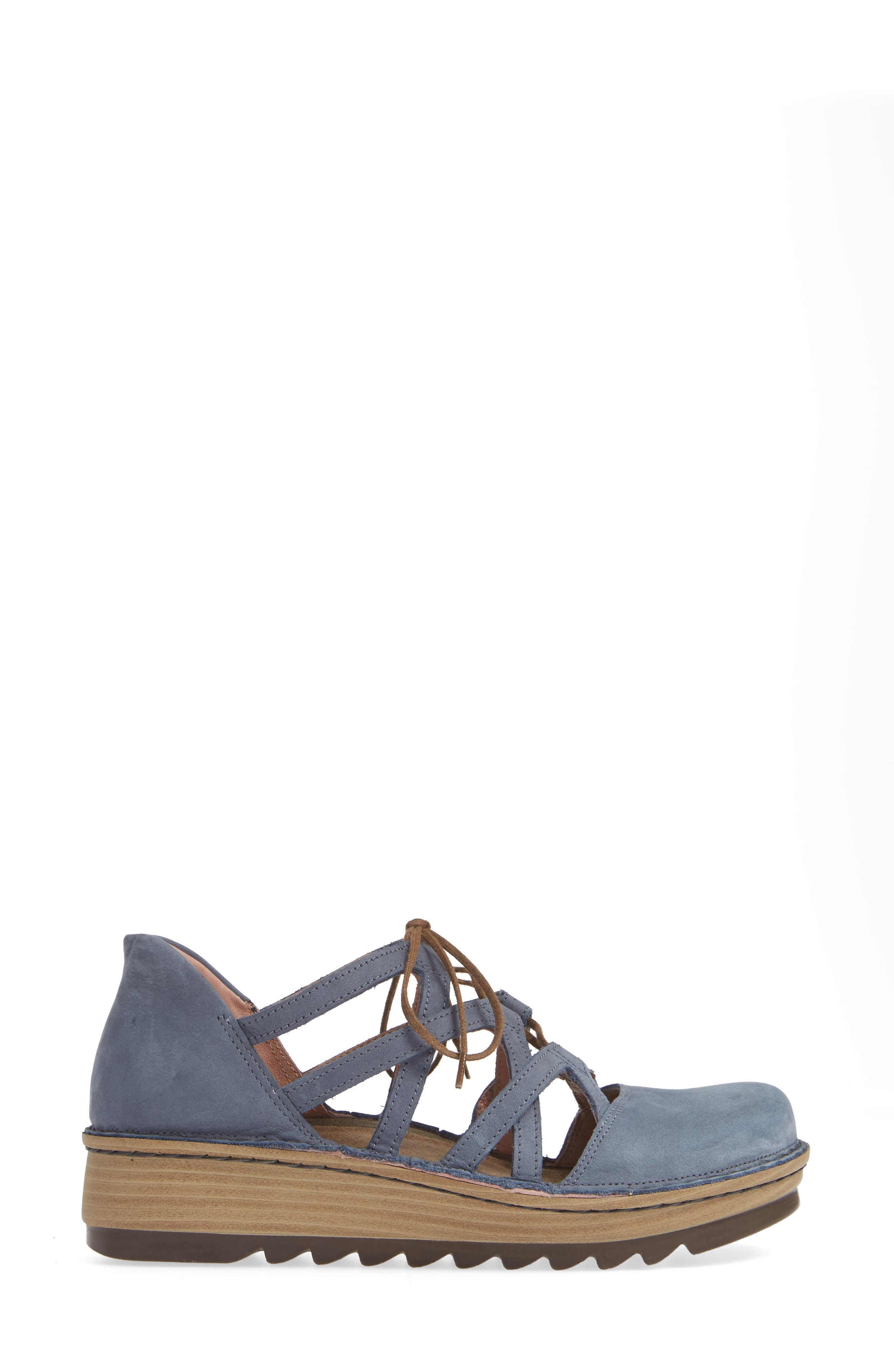 NAOT,                             Calathea Ghillie Laced Wedge,                             Alternate thumbnail 3, color,                             FEATHERY BLUE NUBUCK