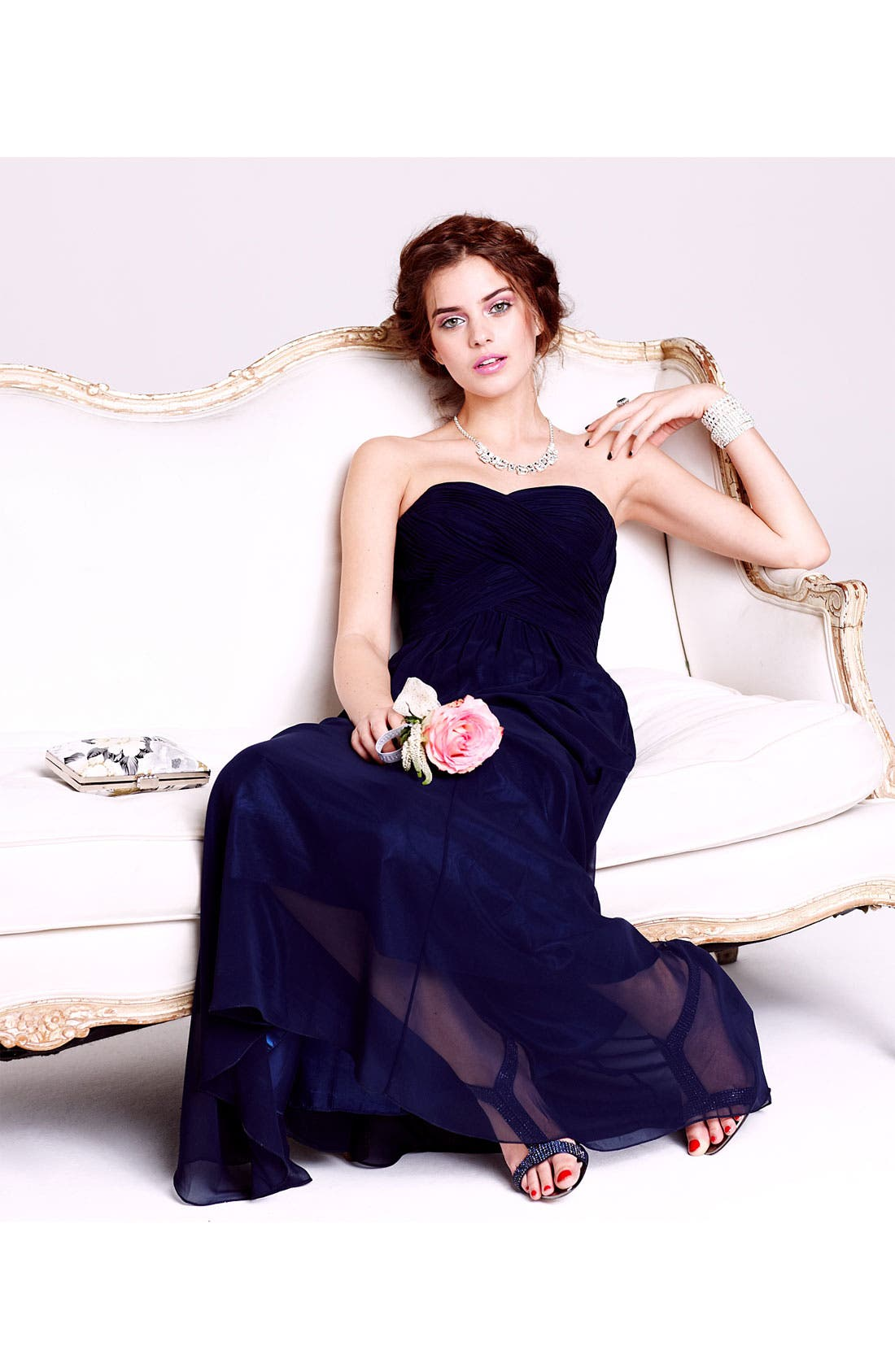 Strapless Ruched Chiffon Gown,                             Alternate thumbnail 13, color,
