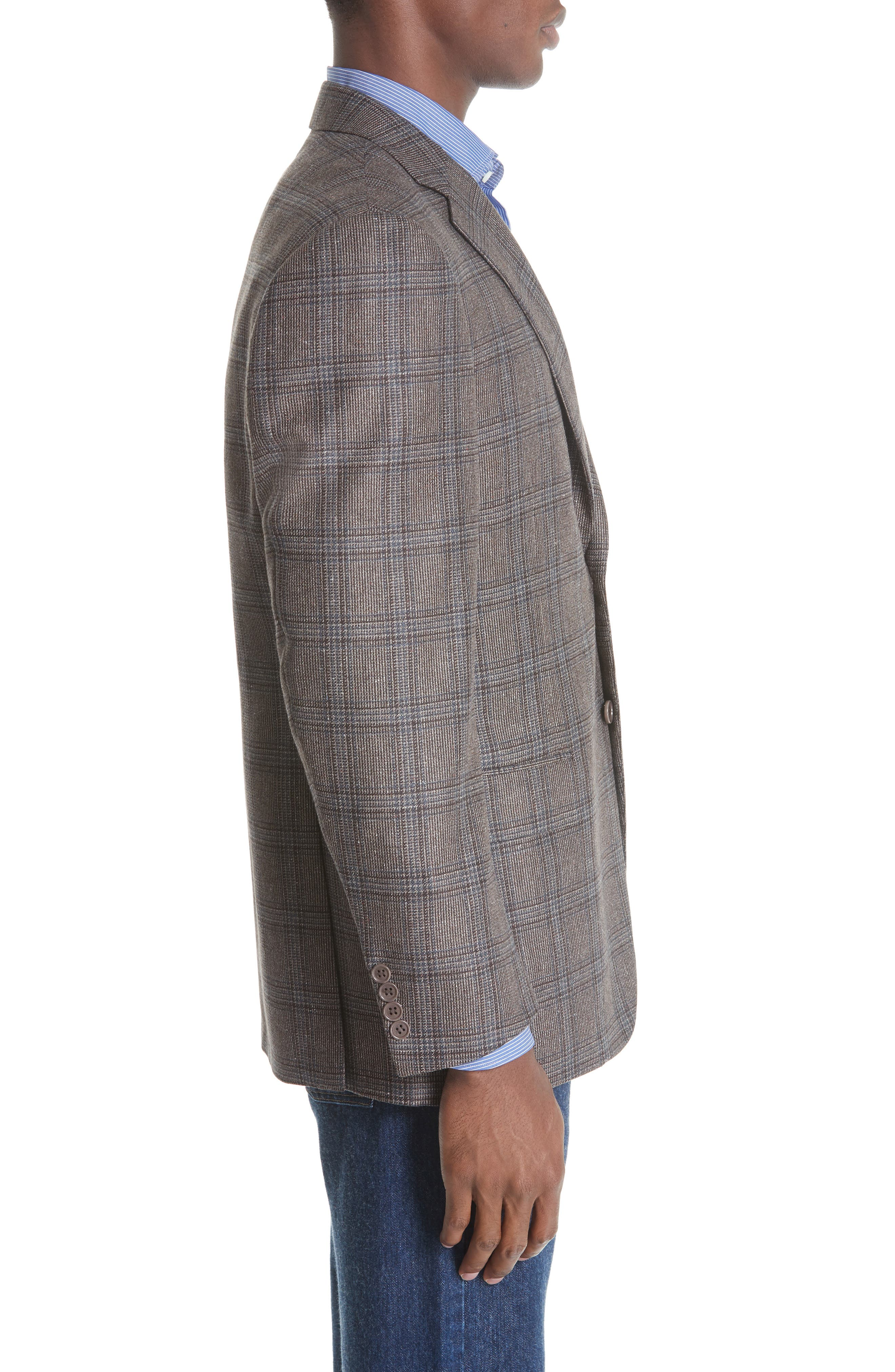 Classic Fit Plaid Silk & Wool Sport Coat,                             Alternate thumbnail 3, color,                             MED BROWN