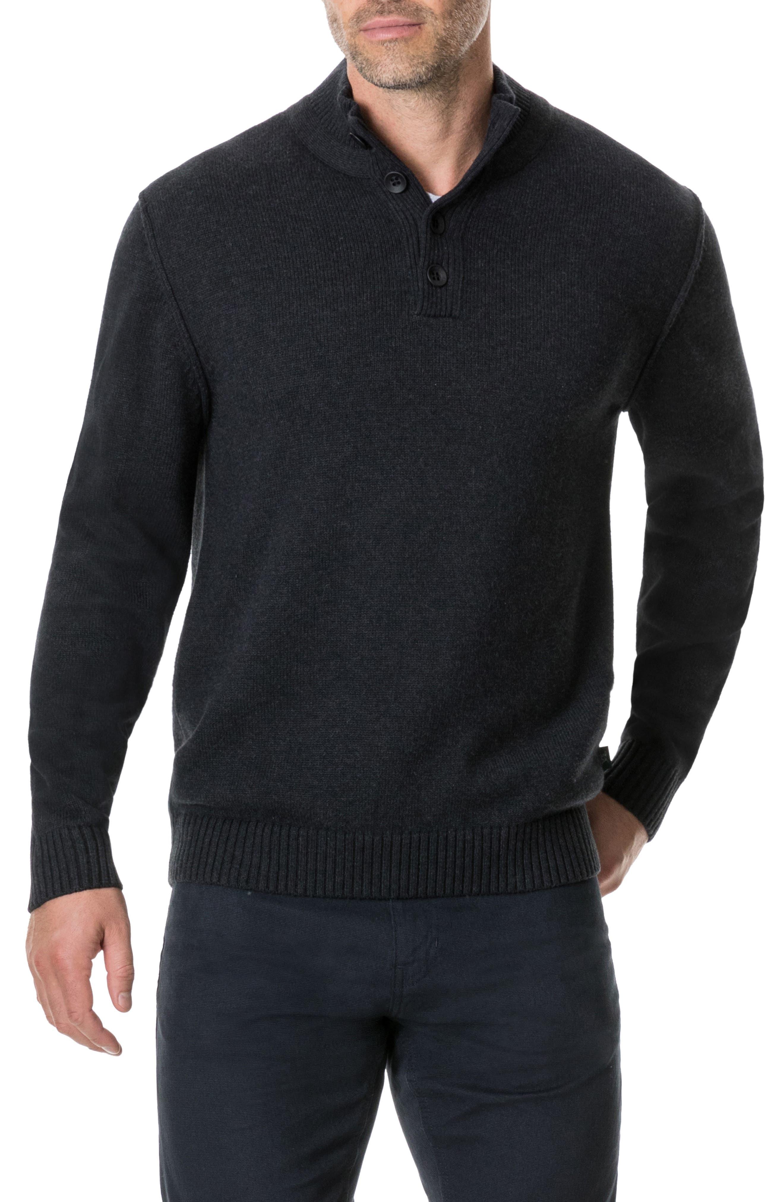 Kent Terrace Quarter Button Sweater,                         Main,                         color, CHARCOAL