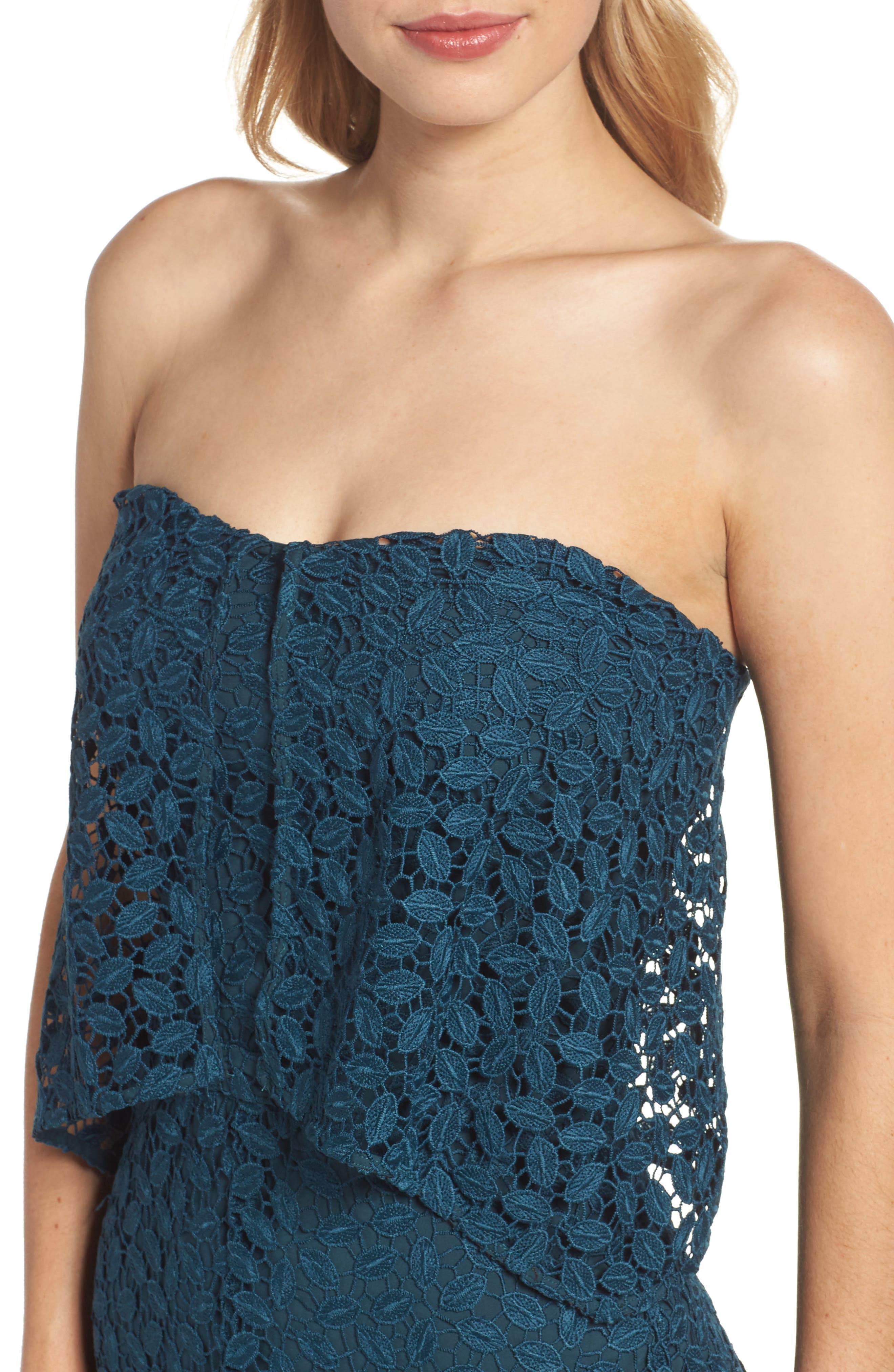 Strapless Popover Dress,                             Alternate thumbnail 4, color,                             440