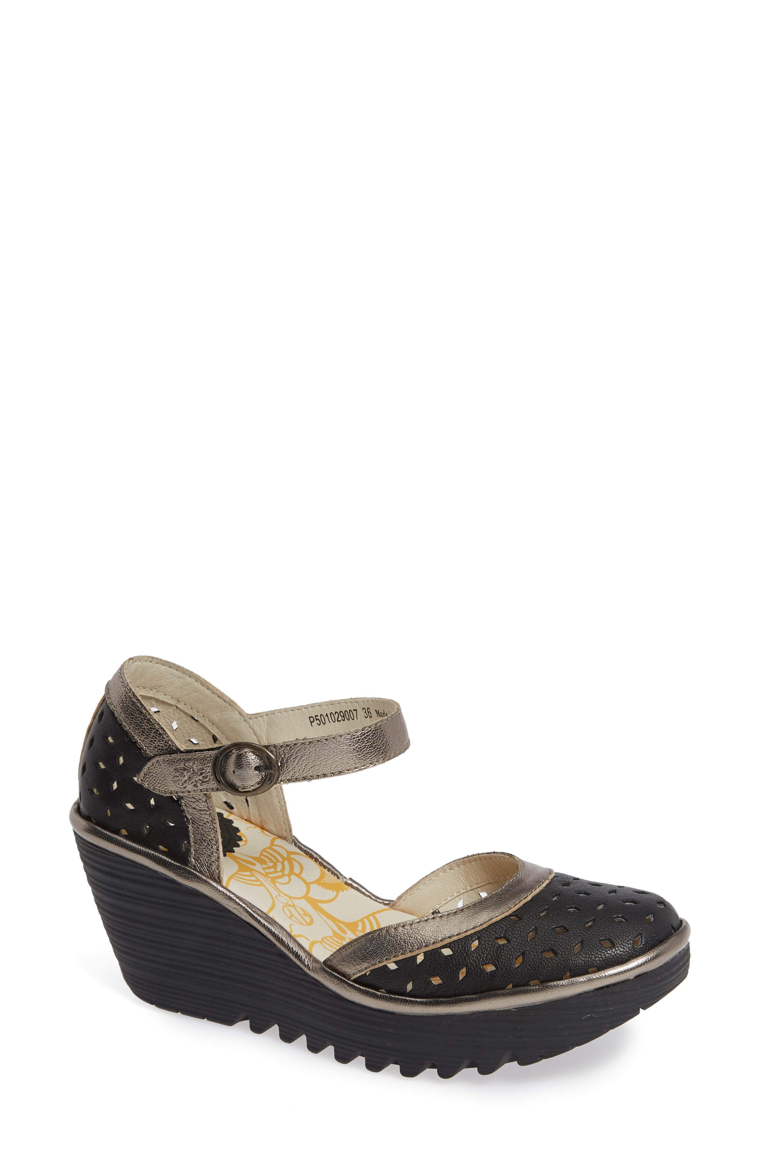 FLY LONDON,                             Yven Wedge,                             Main thumbnail 1, color,                             BLACK/ BRONZE LEATHER