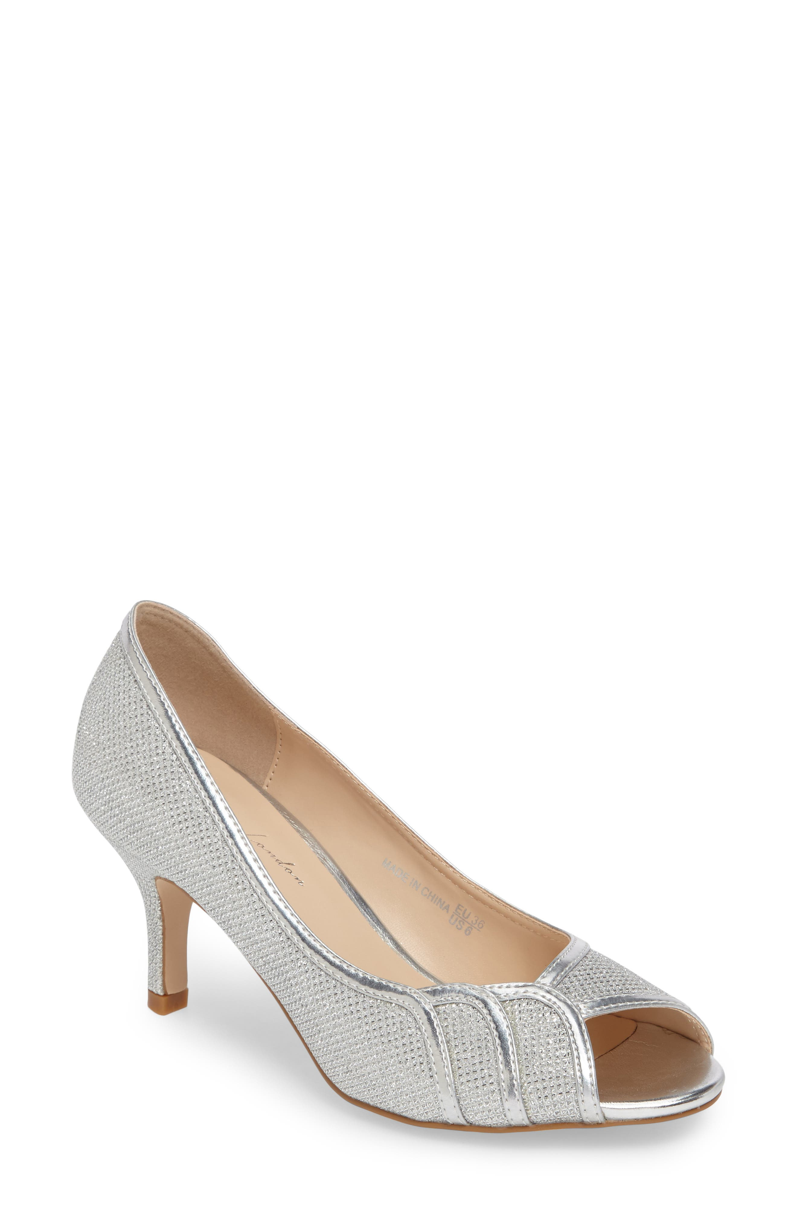 Chester Peep Toe Pump,                         Main,                         color, SILVER