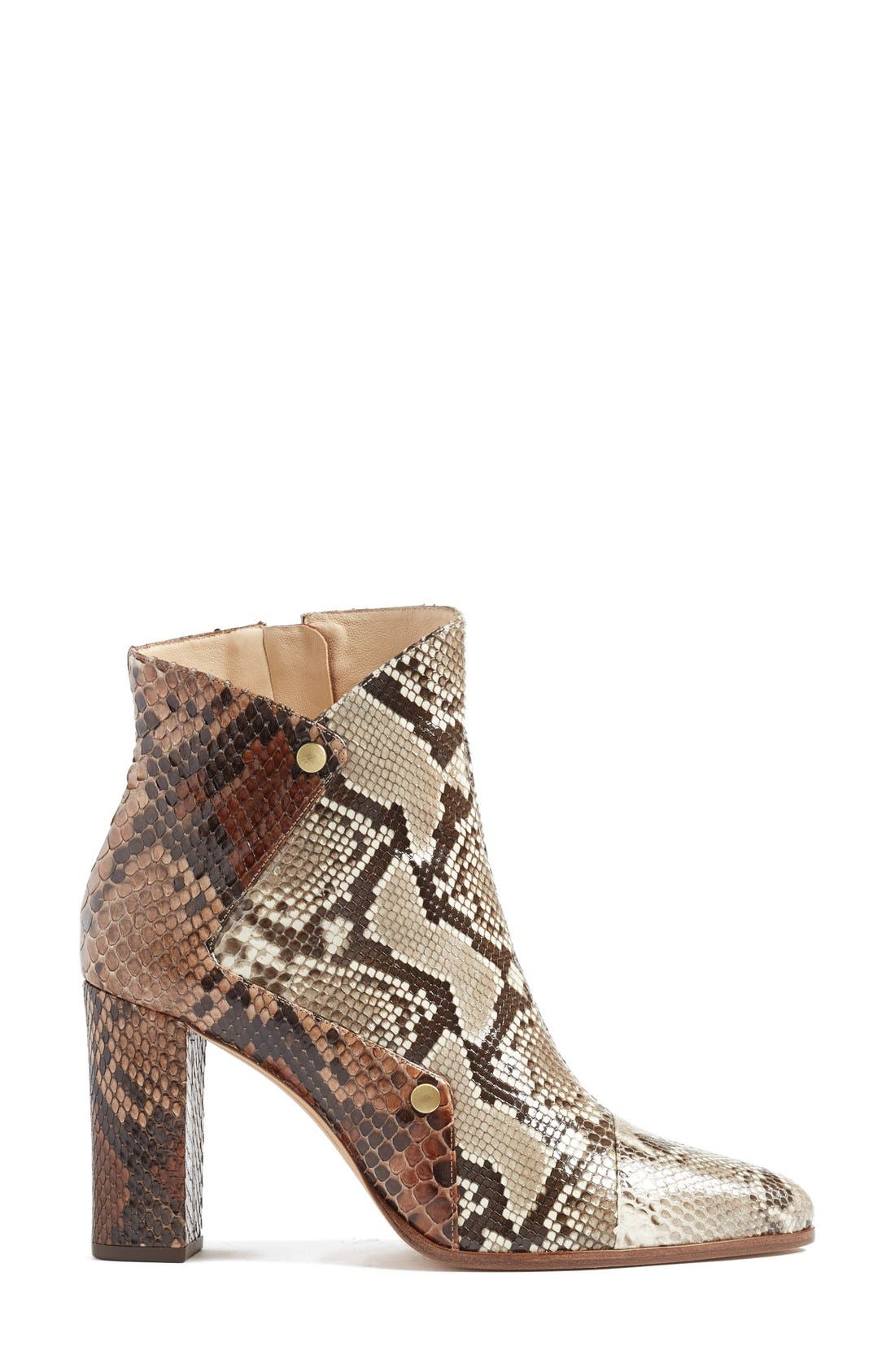 'Kendal' Genuine Python Skin Pointy Toe Bootie,                             Alternate thumbnail 3, color,                             250