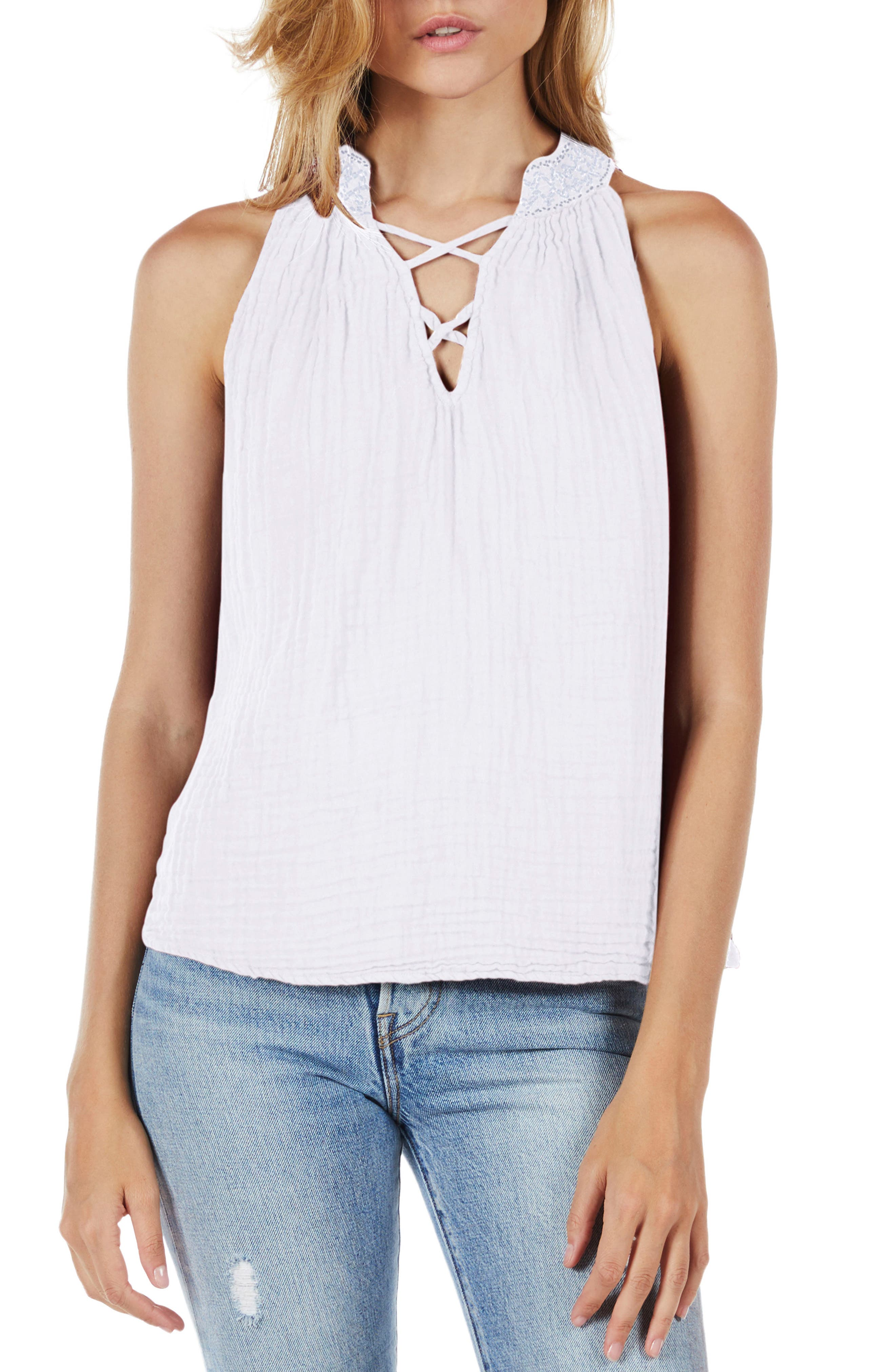 Embroidered Neck Tank,                         Main,                         color, 100
