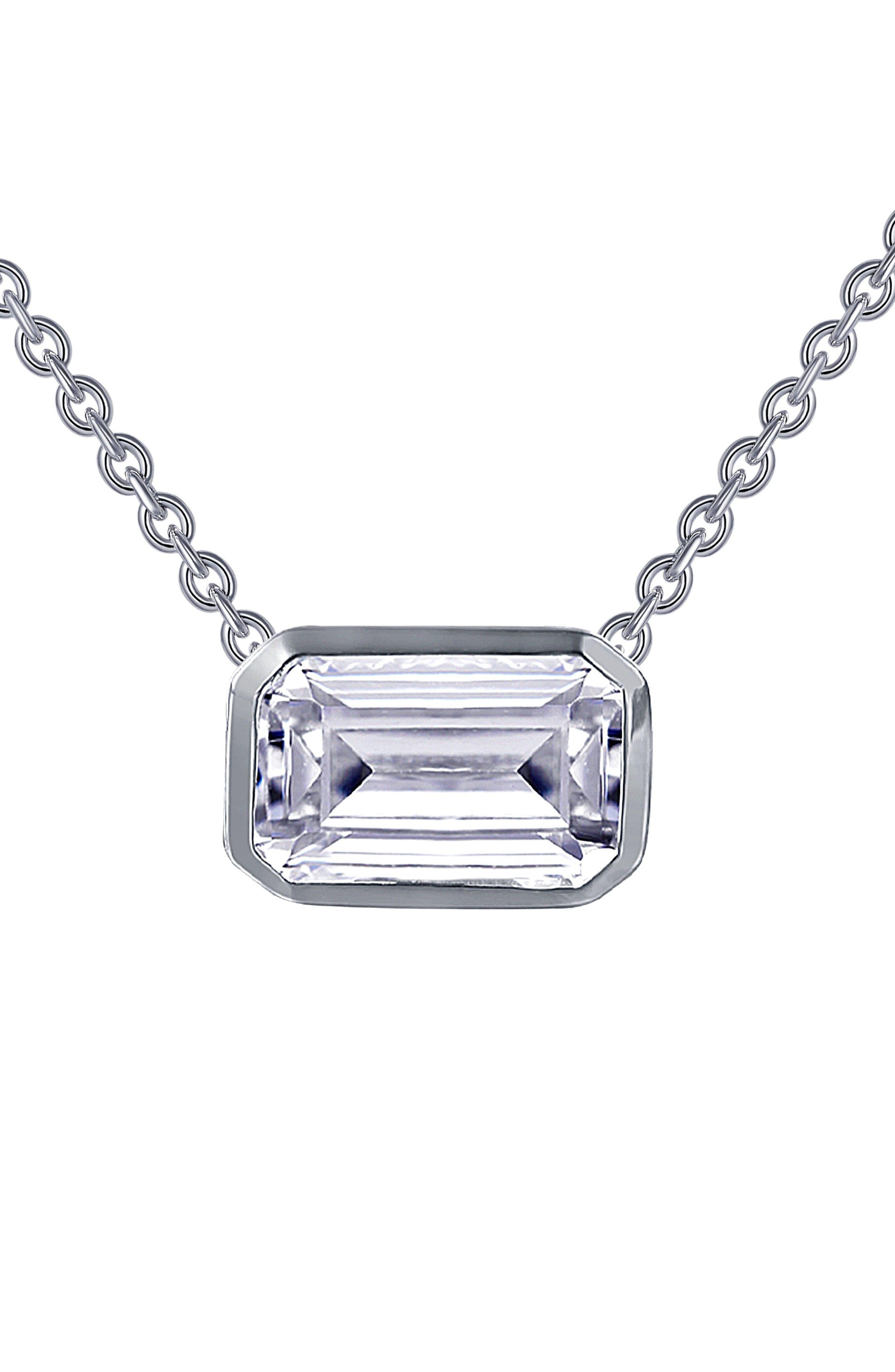 Bezel-Set Emerald-Cut Choker Necklace,                             Alternate thumbnail 3, color,                             SILVER/ CLEAR