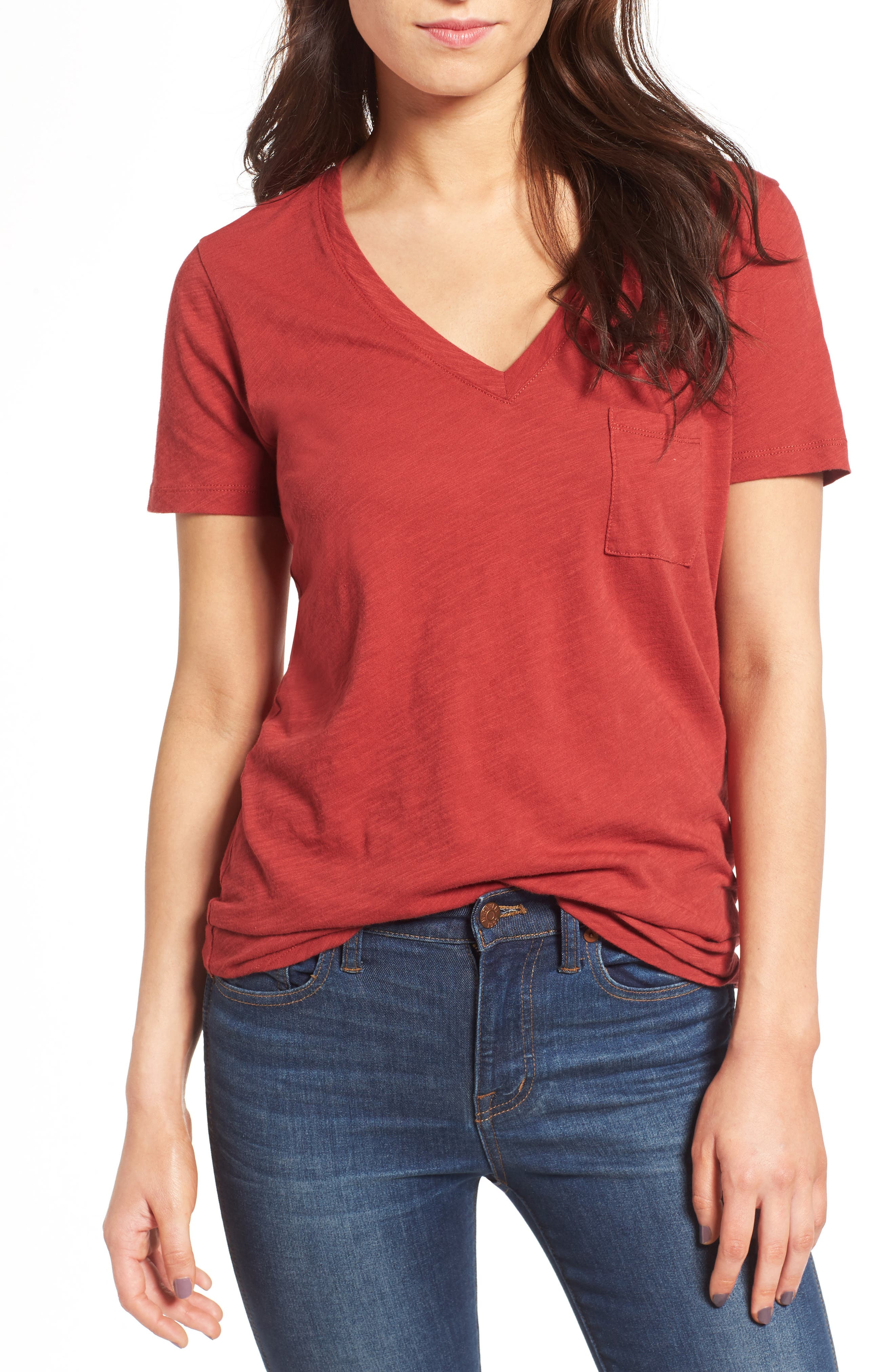 Whisper Cotton V-Neck Pocket Tee,                             Main thumbnail 41, color,
