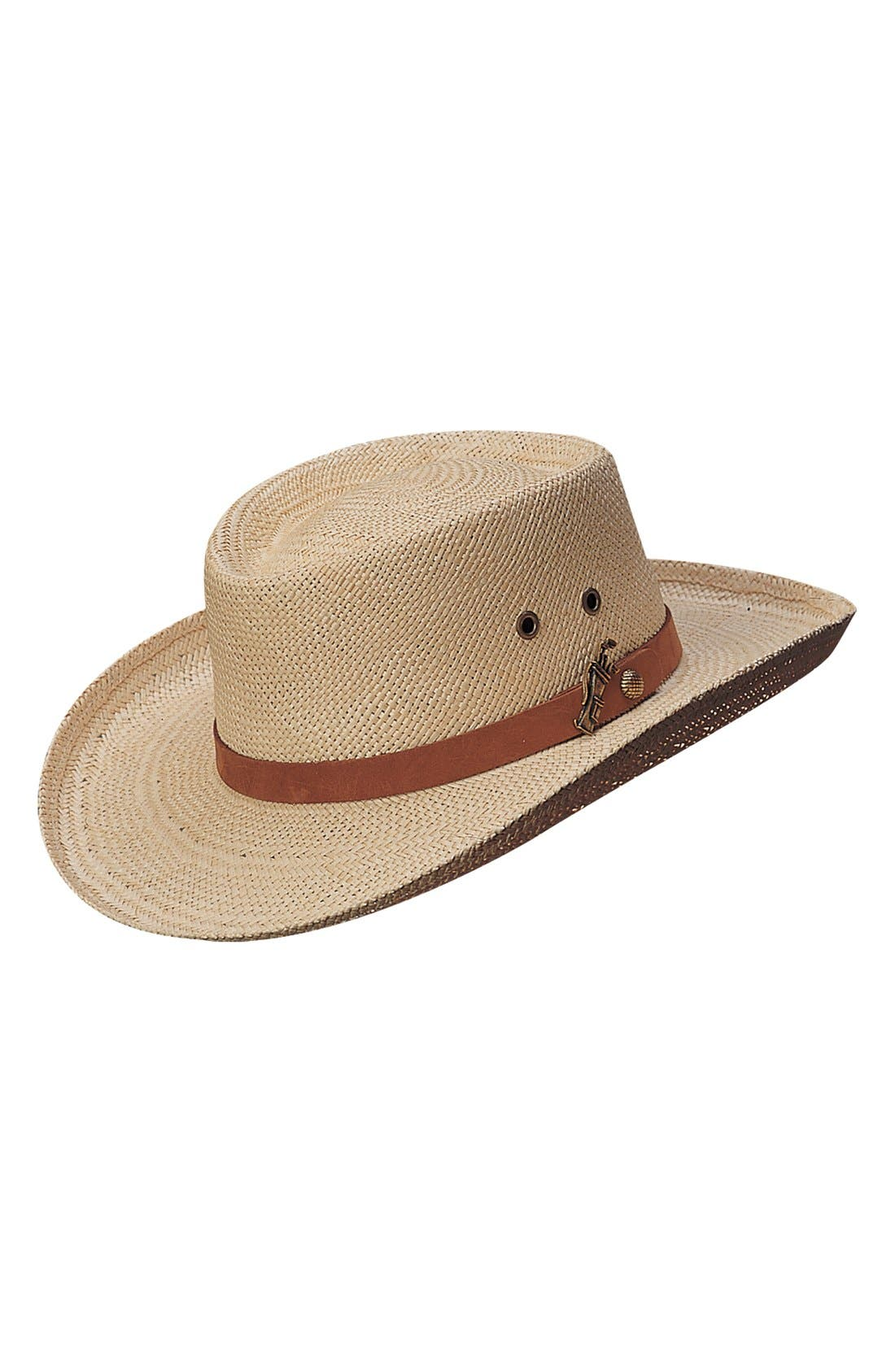 Palm Gambler Hat,                             Main thumbnail 1, color,                             NATURAL