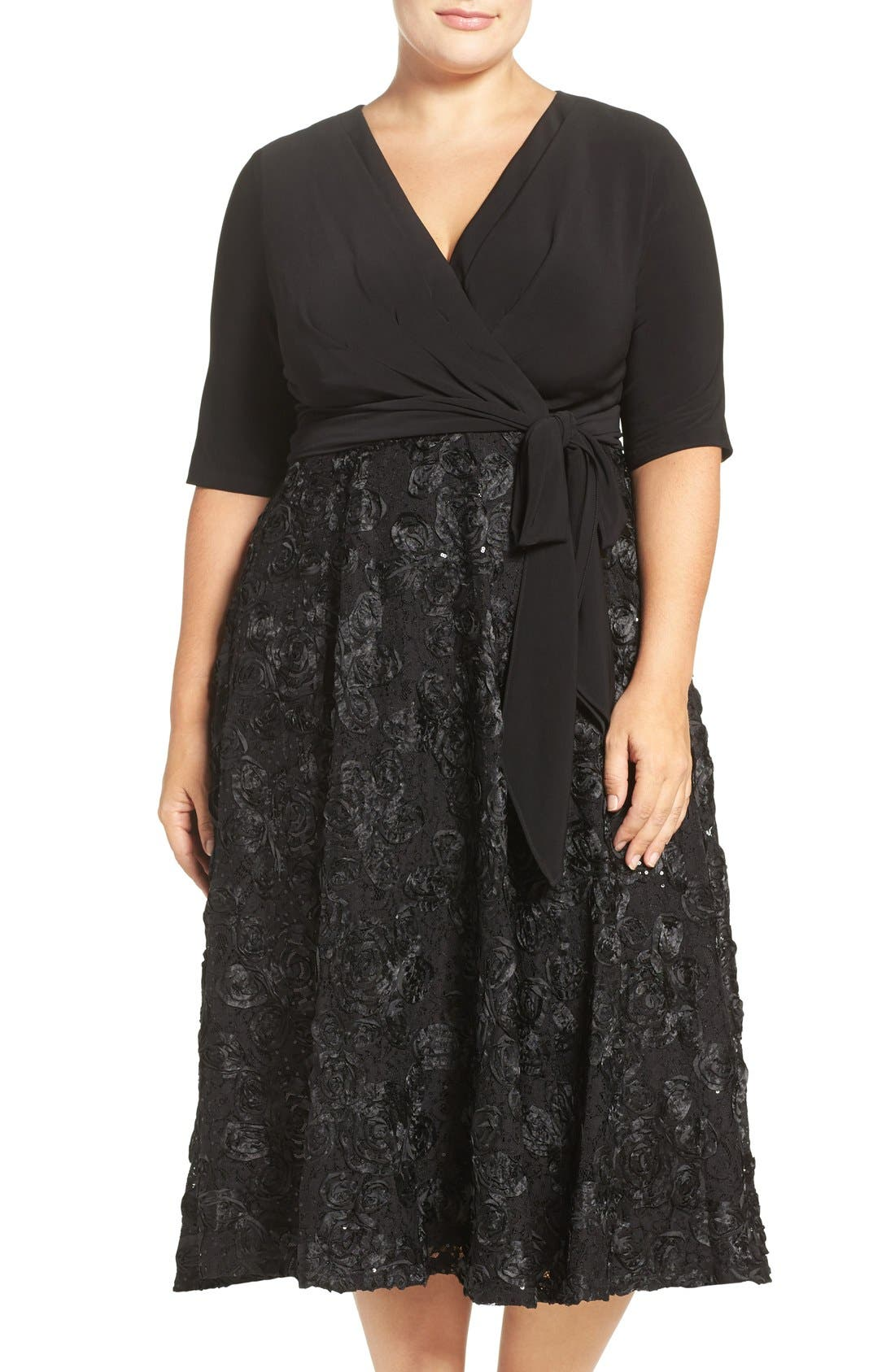 Tea Length Jersey & Rosette Lace Dress,                             Main thumbnail 1, color,                             001