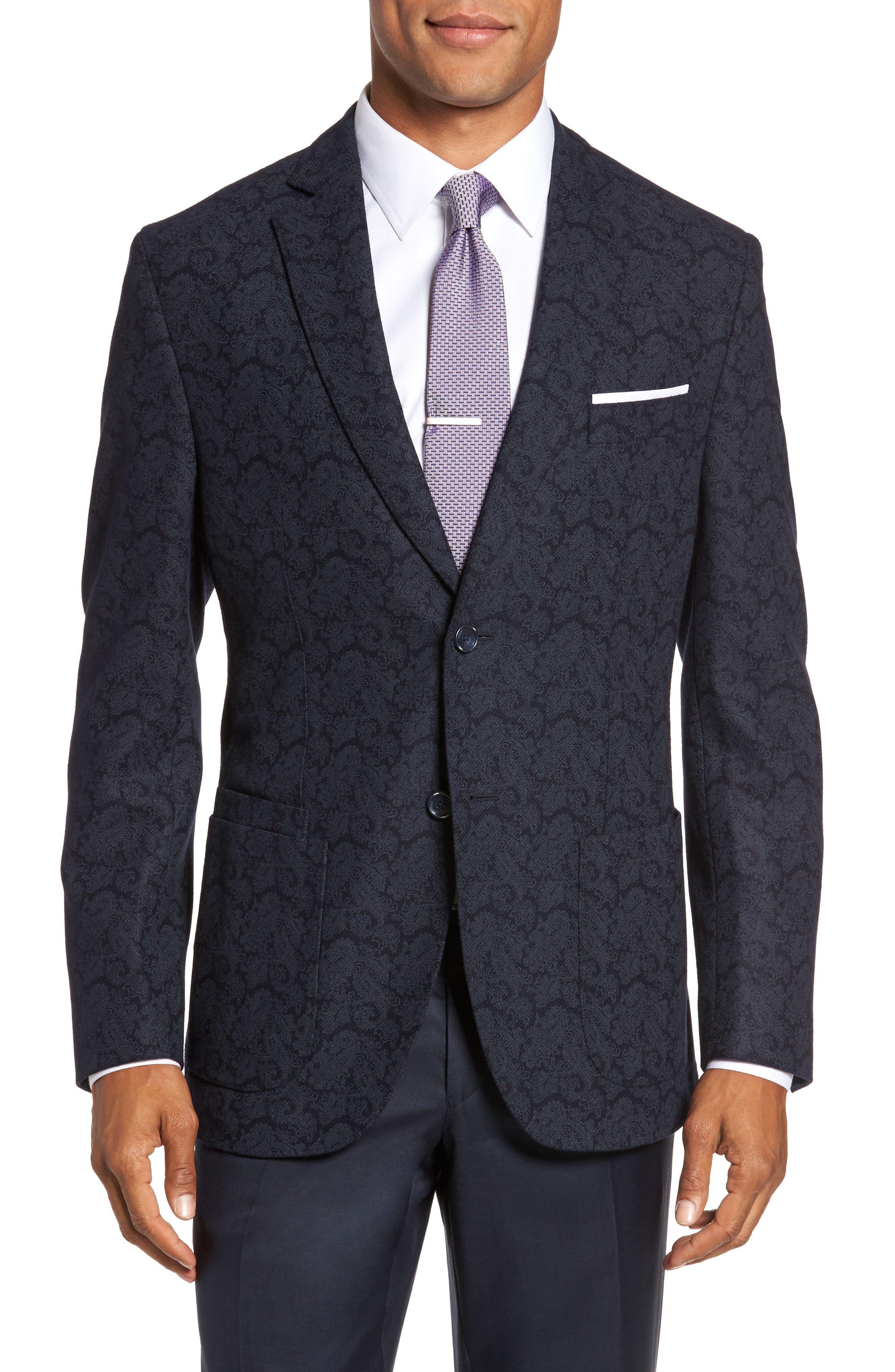 Trim Fit Paisley Wool Blend Sport Coat,                         Main,                         color, 403